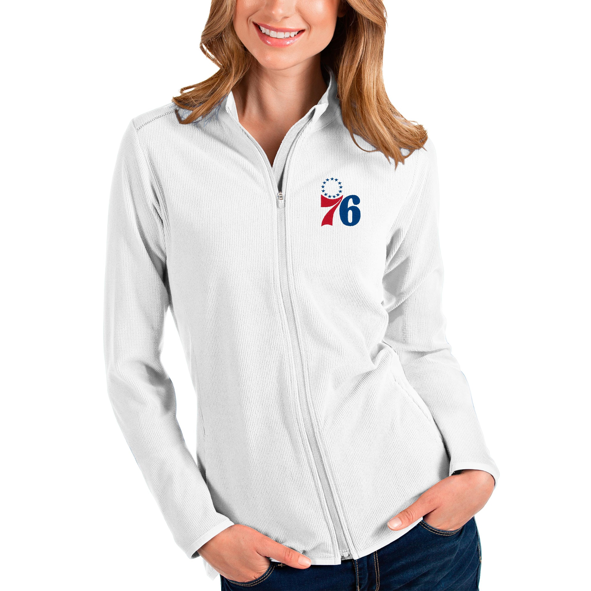 Philadelphia 76ers Antigua Women's Glacier Full-Zip Jacket - White