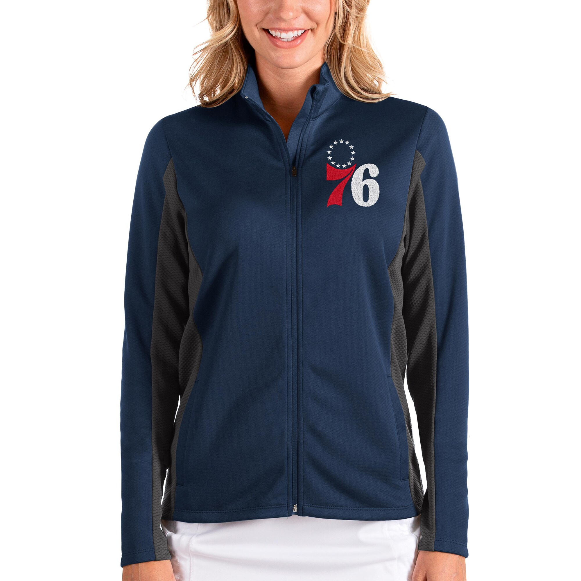 Philadelphia 76ers Antigua Women's Passage Full-Zip Jacket - Navy/Charcoal