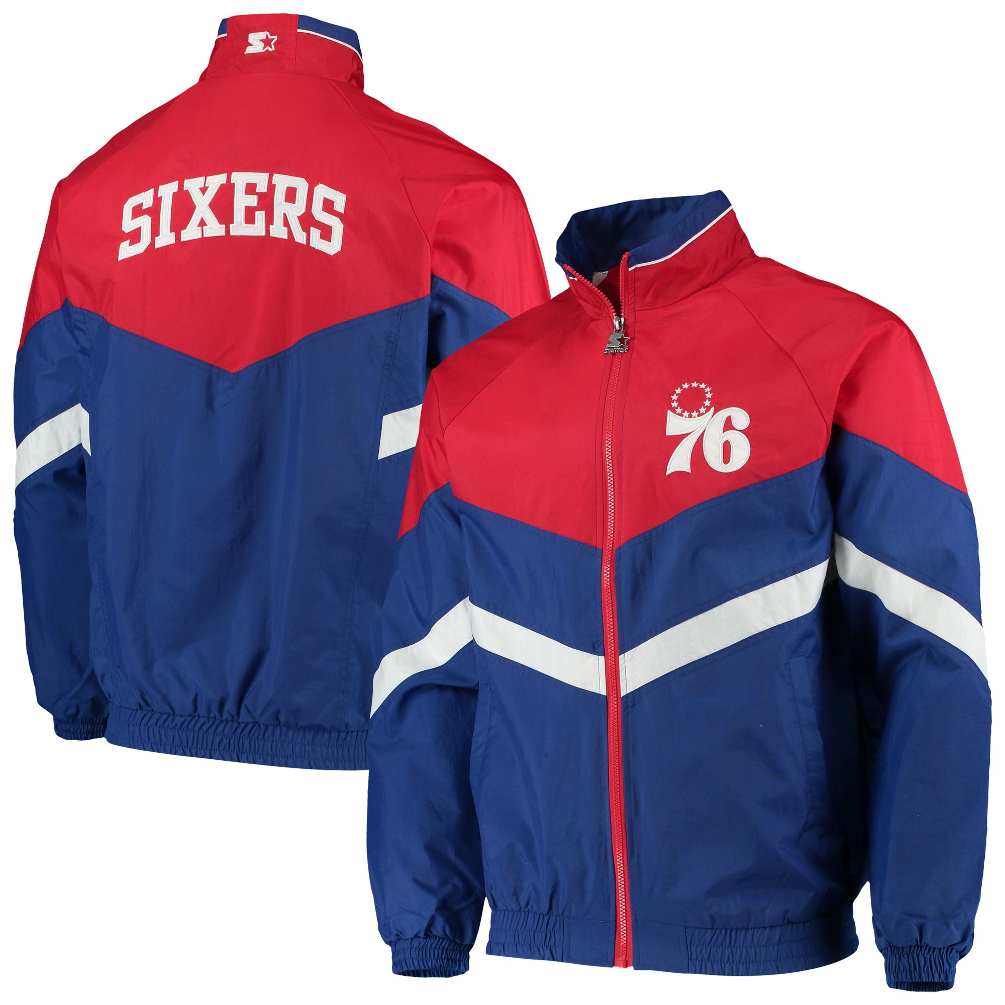 Philadelphia 76ers Starter Bank Shot Oxford Full-Zip Jacket - Royal/Red