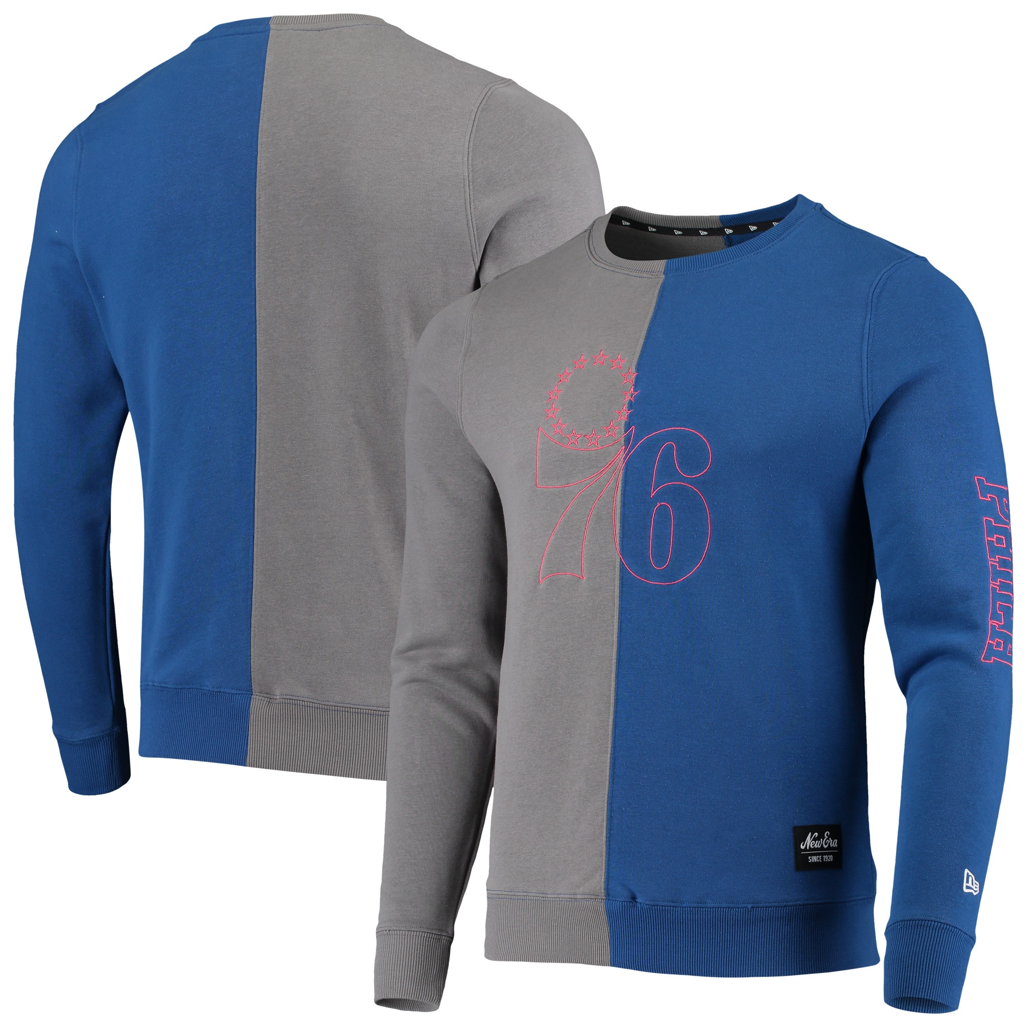 Philadelphia 76ers New Era Diagonal French Terry Color Block Pullover Sweatshirt - Gray/Royal