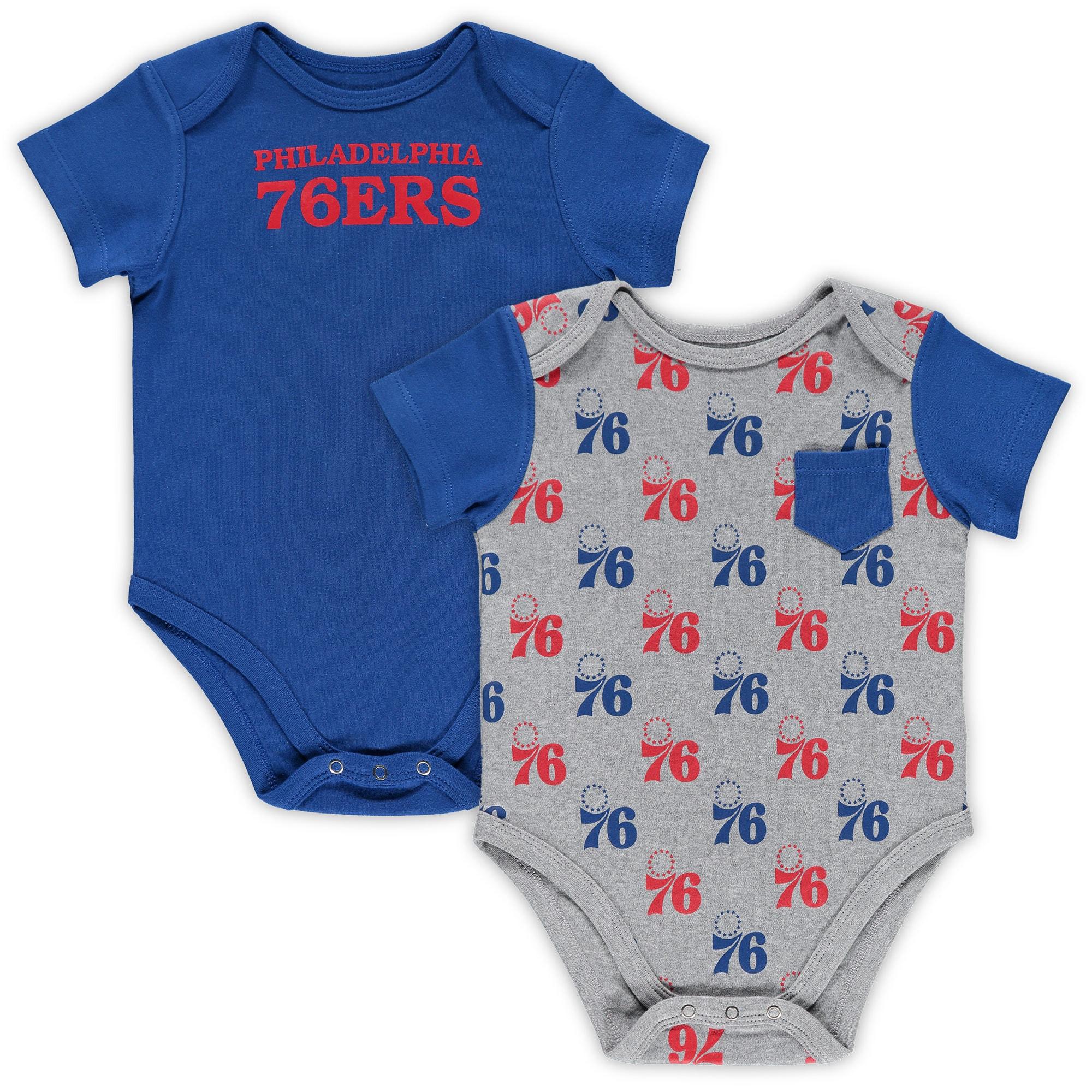Philadelphia 76ers Infant Little Baller 2-Pack Bodysuit Set - Royal/Heathered Gray