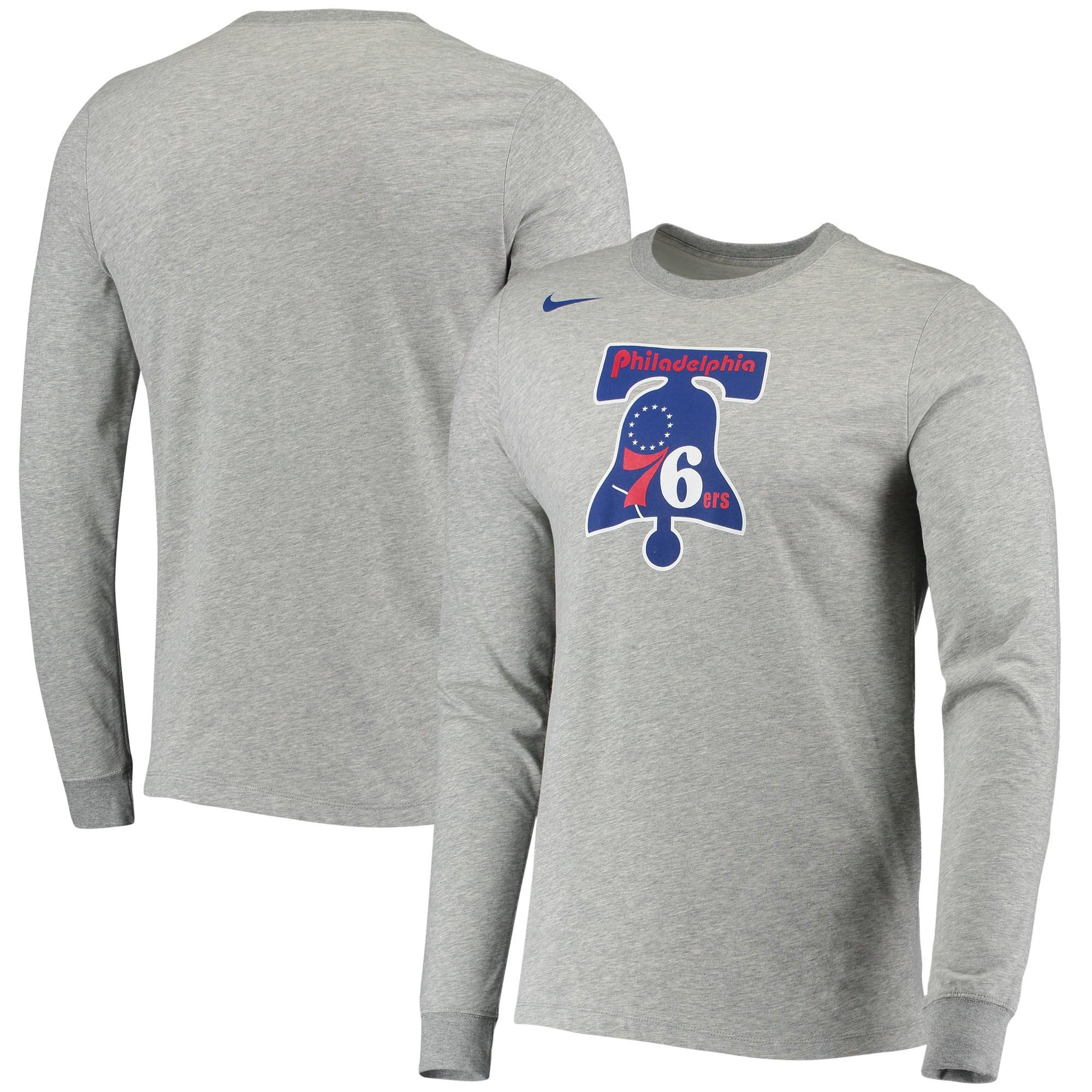 Philadelphia 76ers Nike Hardwood Classics Performance Long Sleeve T-Shirt - Heathered Gray