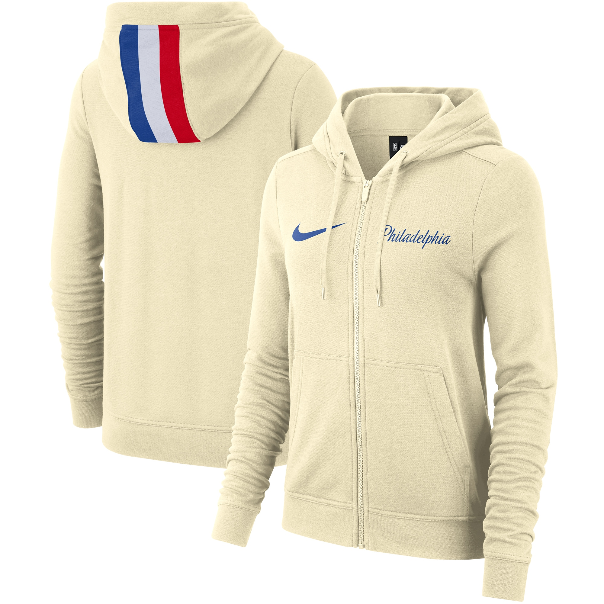 Philadelphia 76ers Nike Women's 2019/20 City Edition Full-Zip Hoodie - Cream