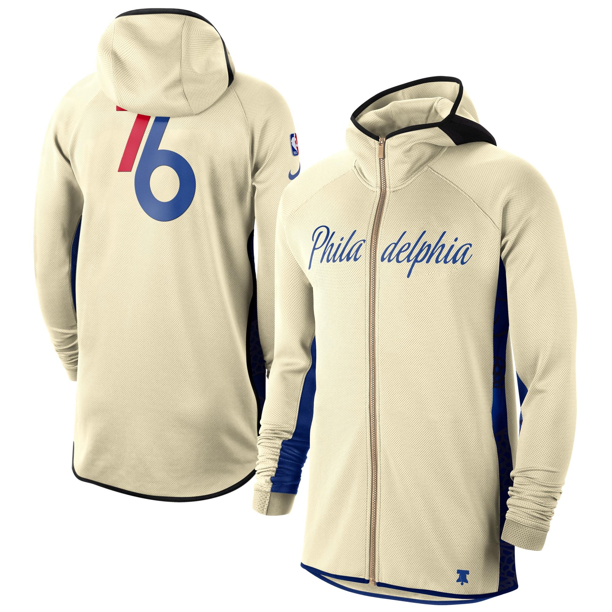 Philadelphia 76ers Nike 2019/20 Earned Edition Showtime Full-Zip Performance Hoodie - Cream/Blue