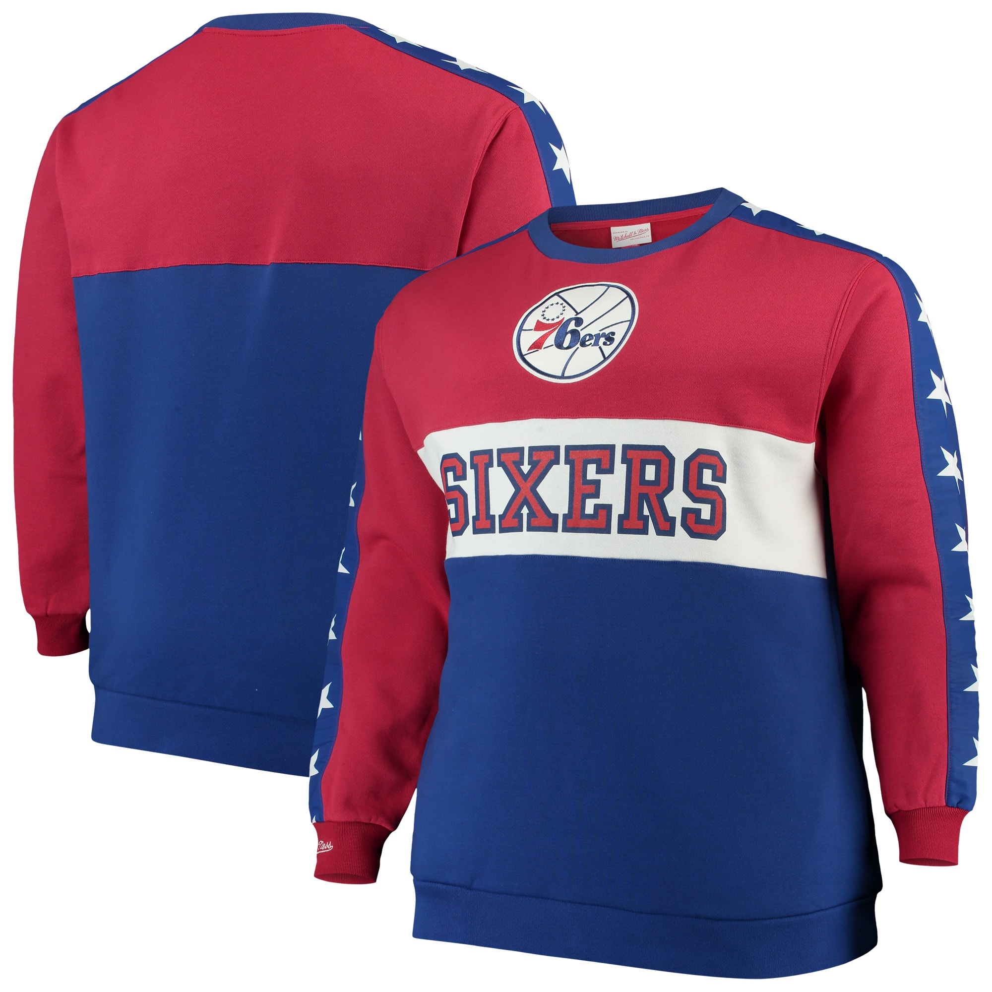 Philadelphia 76ers Mitchell & Ness Hardwood Classics Big & Tall Leading Scorer Fleece Pullover Sweatshirt - Red/Royal