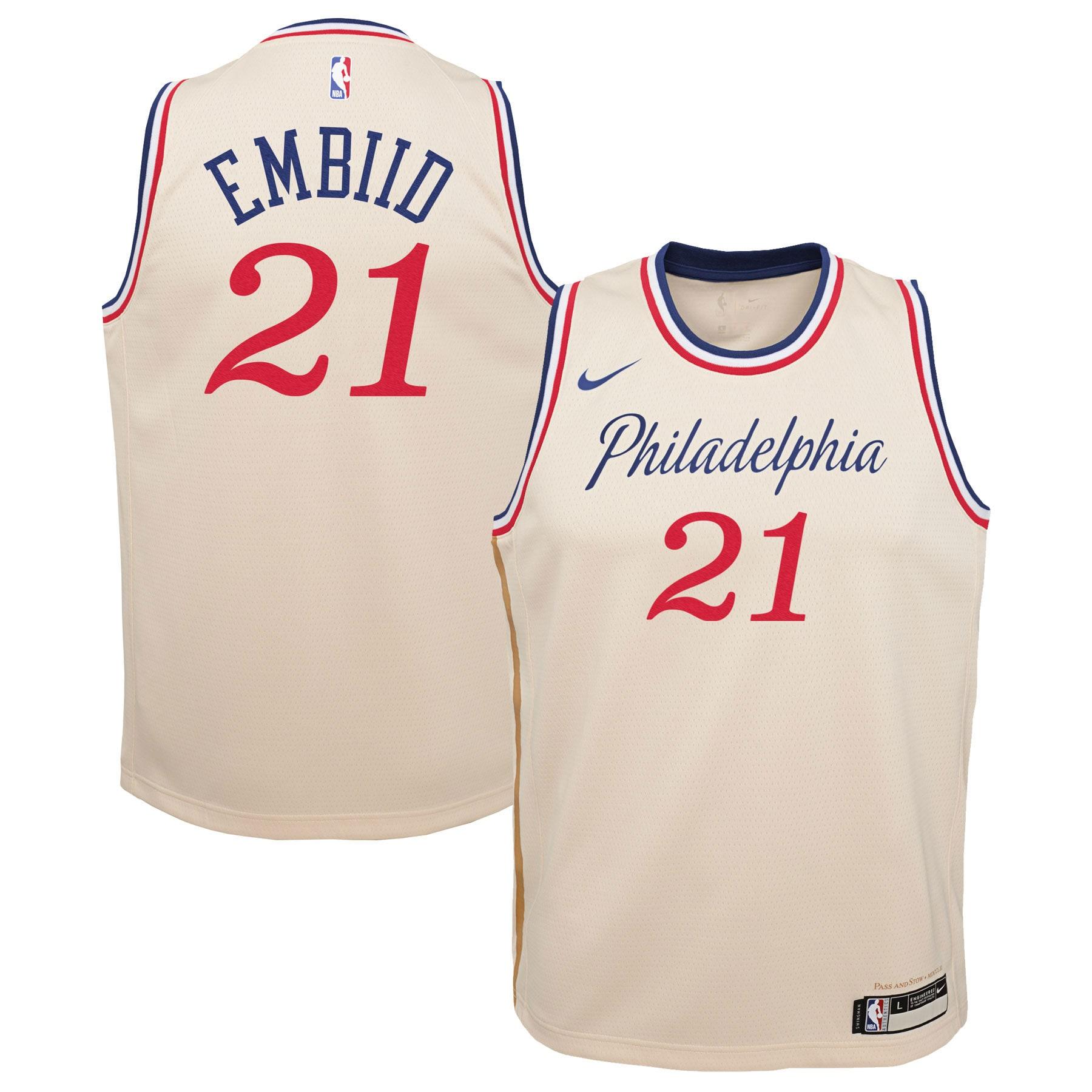 Joel Embiid Philadelphia 76ers Nike Youth Swingman Jersey Cream - City Edition