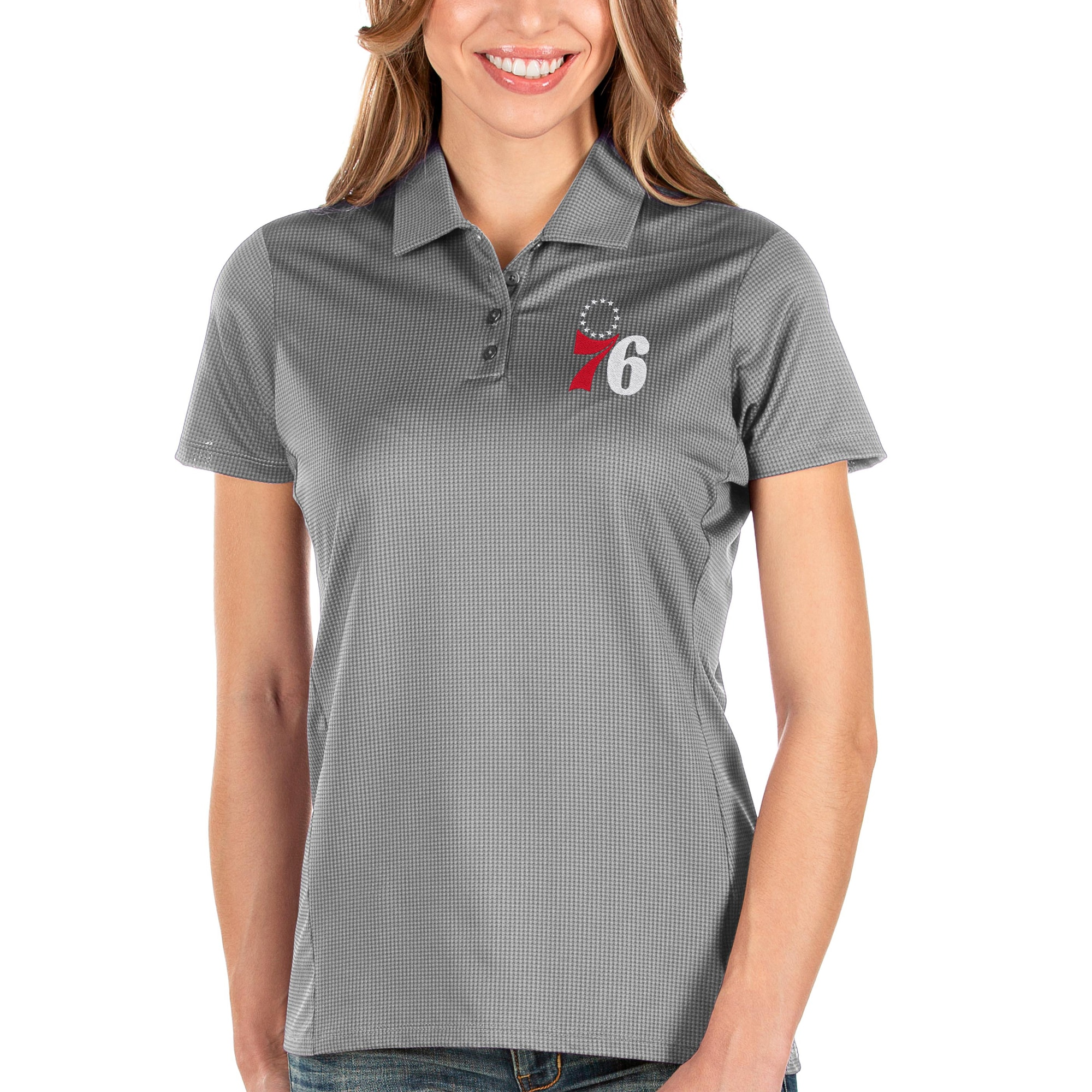 Philadelphia 76ers Antigua Women's Balance Polo - Charcoal