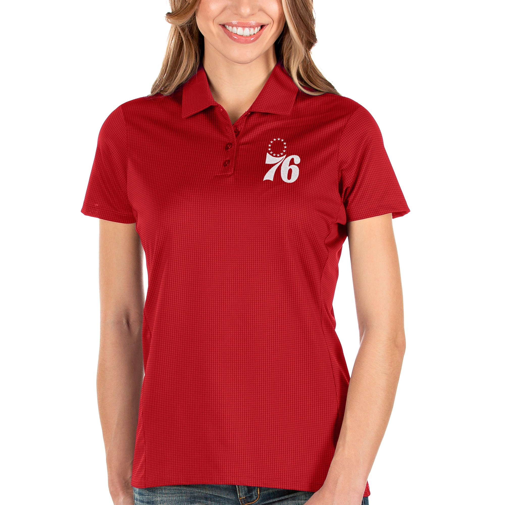 Philadelphia 76ers Antigua Women's Balance Polo - Red