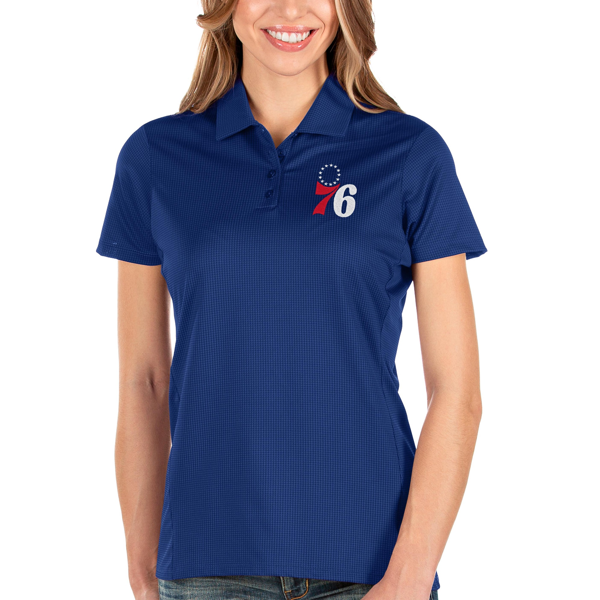 Philadelphia 76ers Antigua Women's Balance Polo - Royal