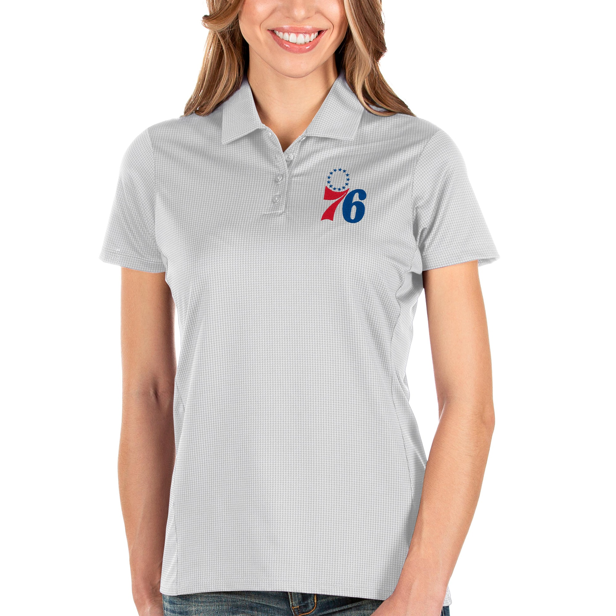Philadelphia 76ers Antigua Women's Balance Polo - White