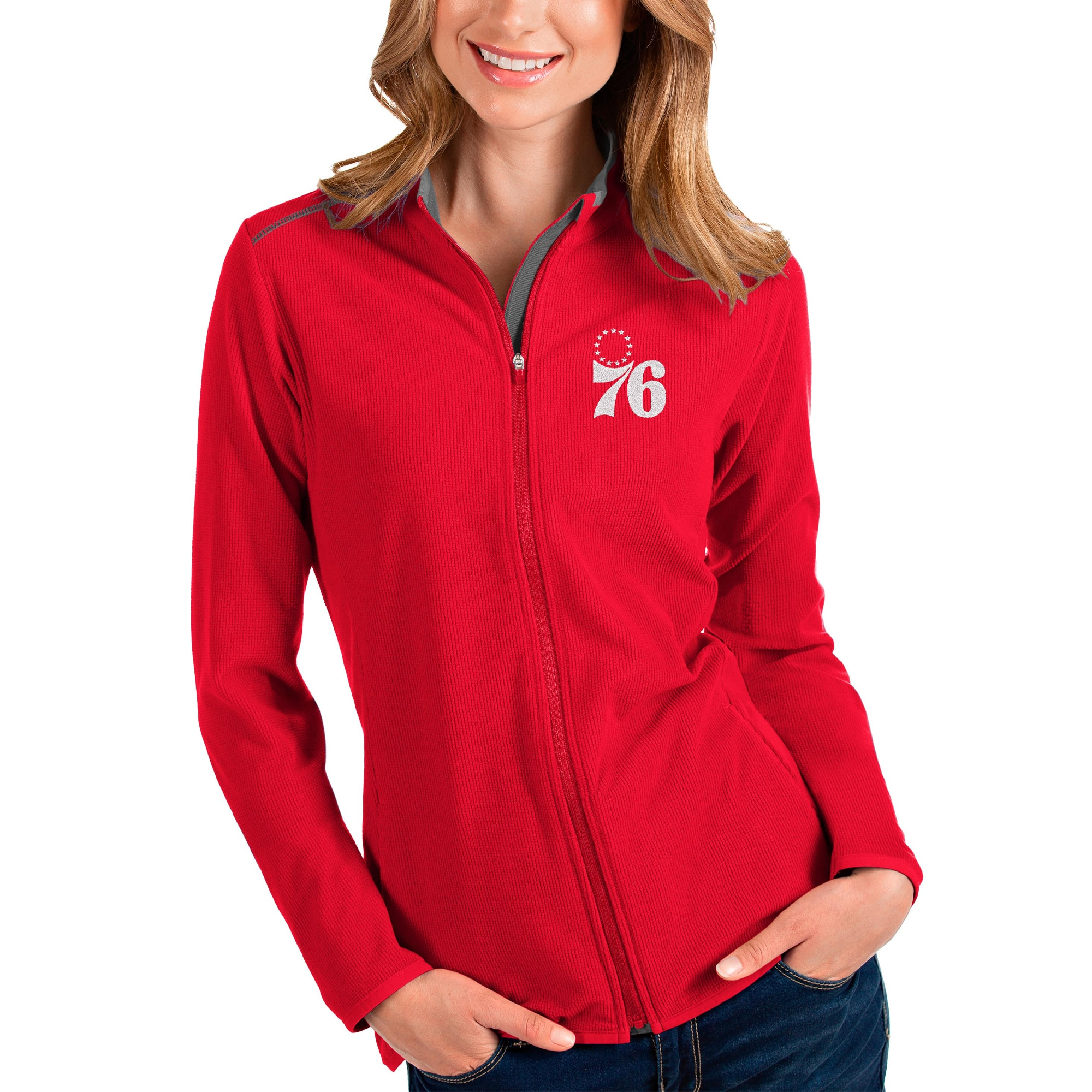 Philadelphia 76ers Antigua Women's Glacier Full-Zip Jacket - Red/Gray