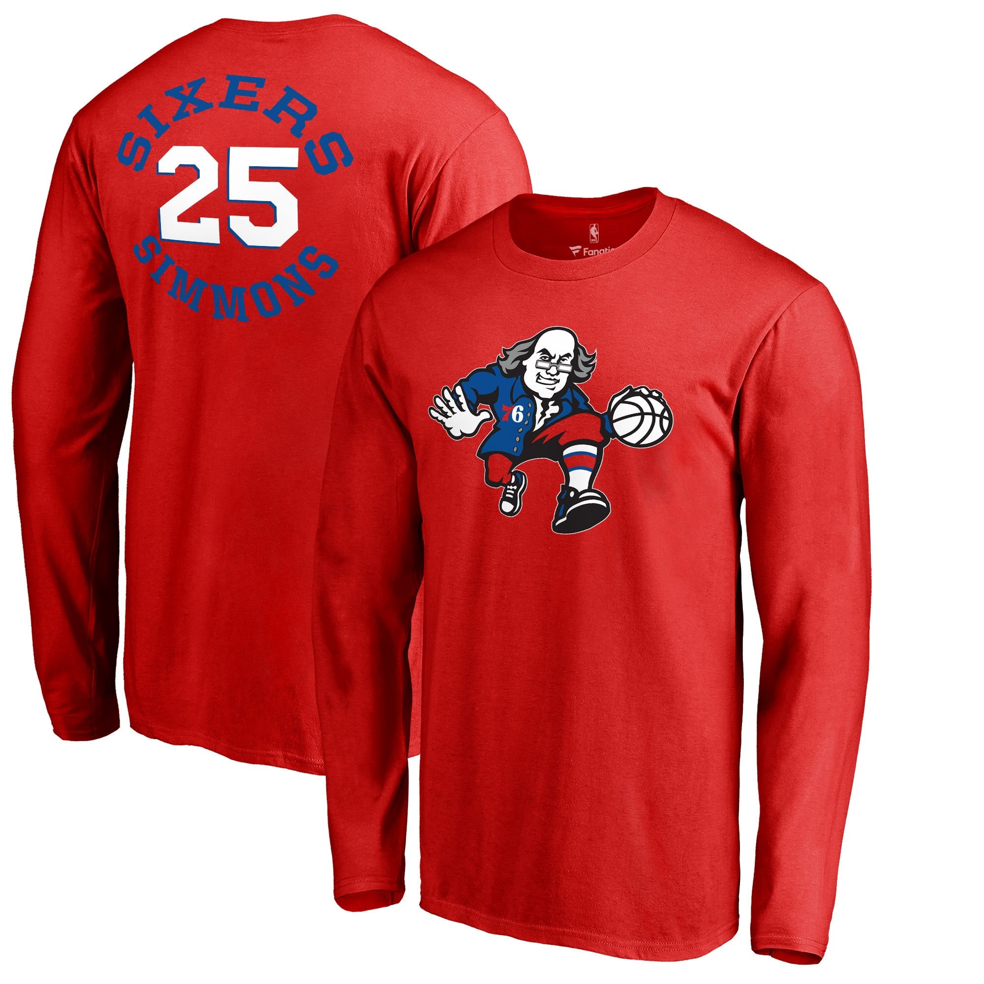 Ben Simmons Philadelphia 76ers Fanatics Branded Round About Name & Number Long Sleeve T-Shirt - Red