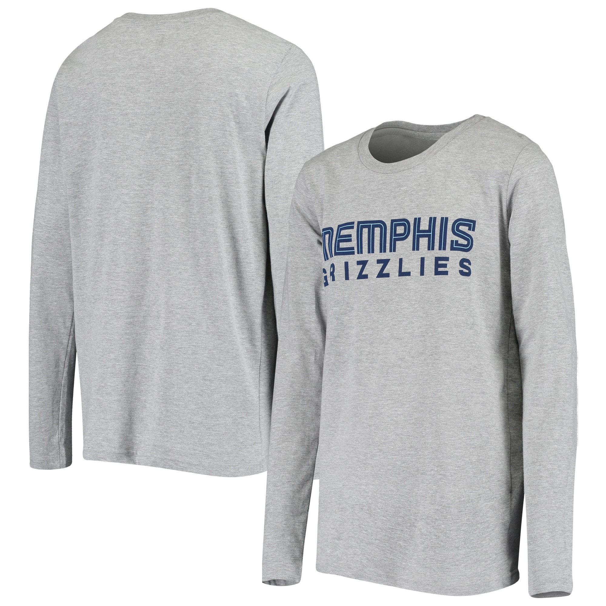 Memphis Grizzlies Youth Primary Logo Long Sleeve T-Shirt - Heathered Gray