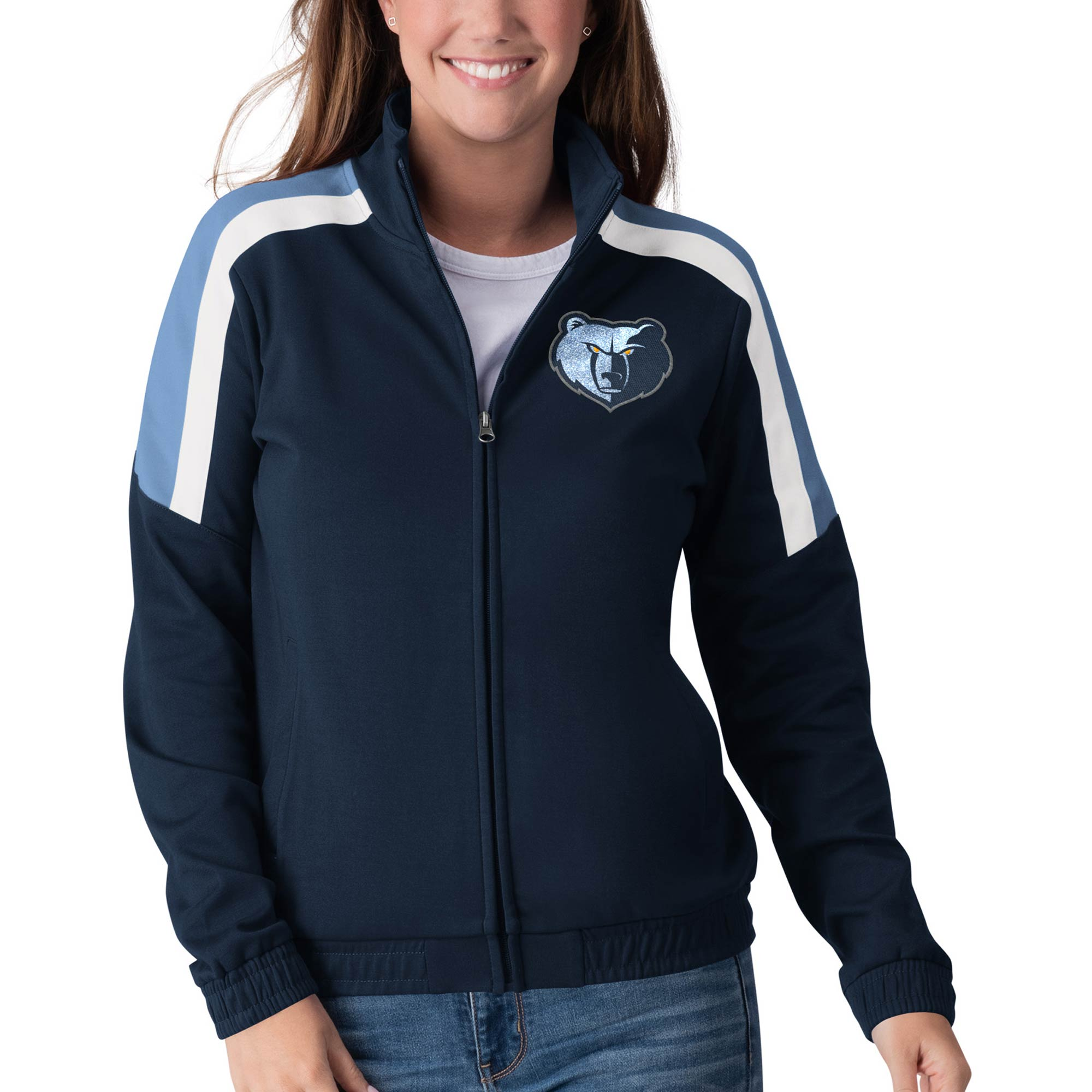 Memphis Grizzlies G-III 4Her by Carl Banks Women's Jump Shot Full-Zip Track Jacket - Navy