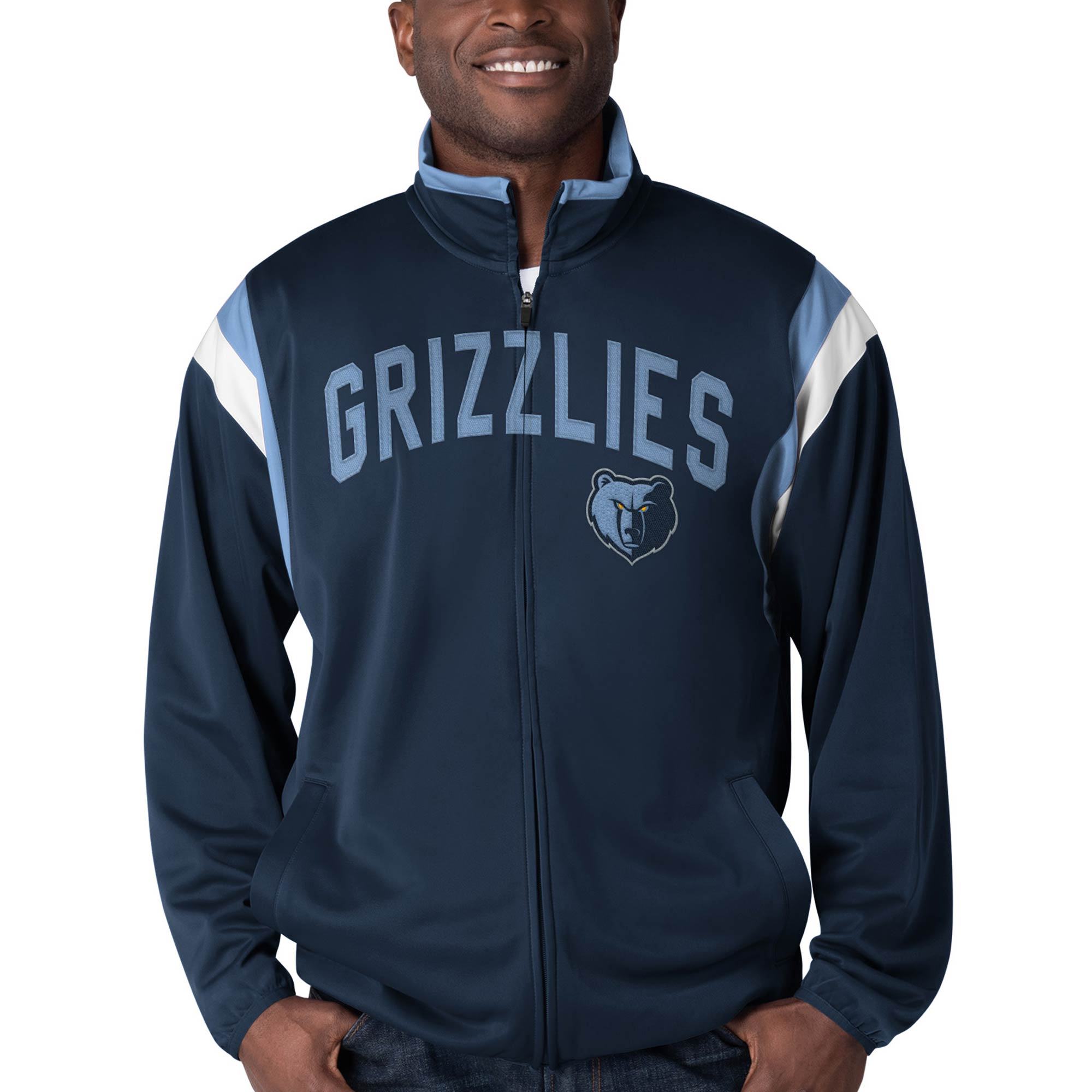 Memphis Grizzlies G-III Sports by Carl Banks Post Up Tricot Full-Zip Track Jacket - Navy