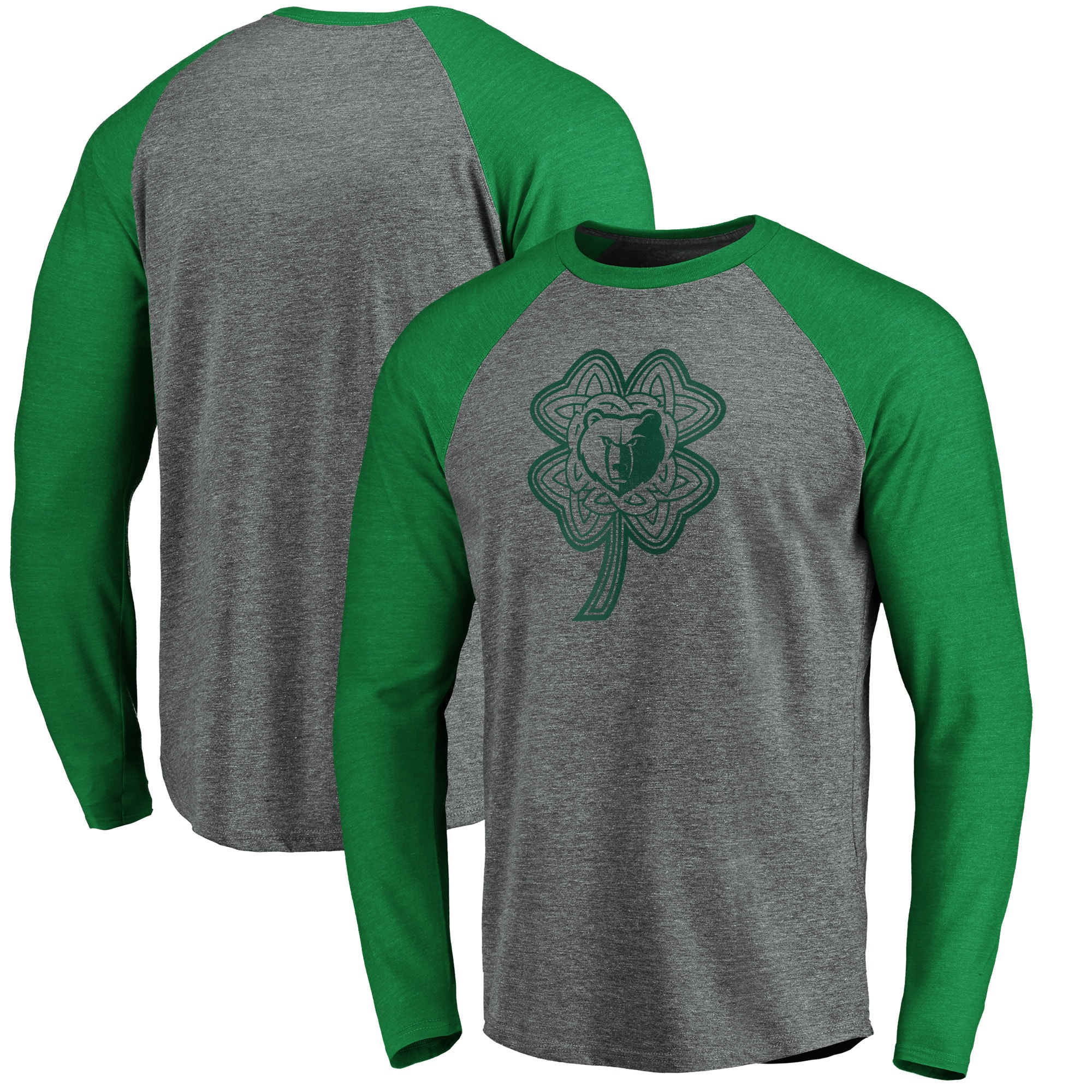 Memphis Grizzlies Fanatics Branded St. Patrick's Day Celtic Charm Raglan Tri-Blend Long Sleeve T-Shirt - Heathered Gray