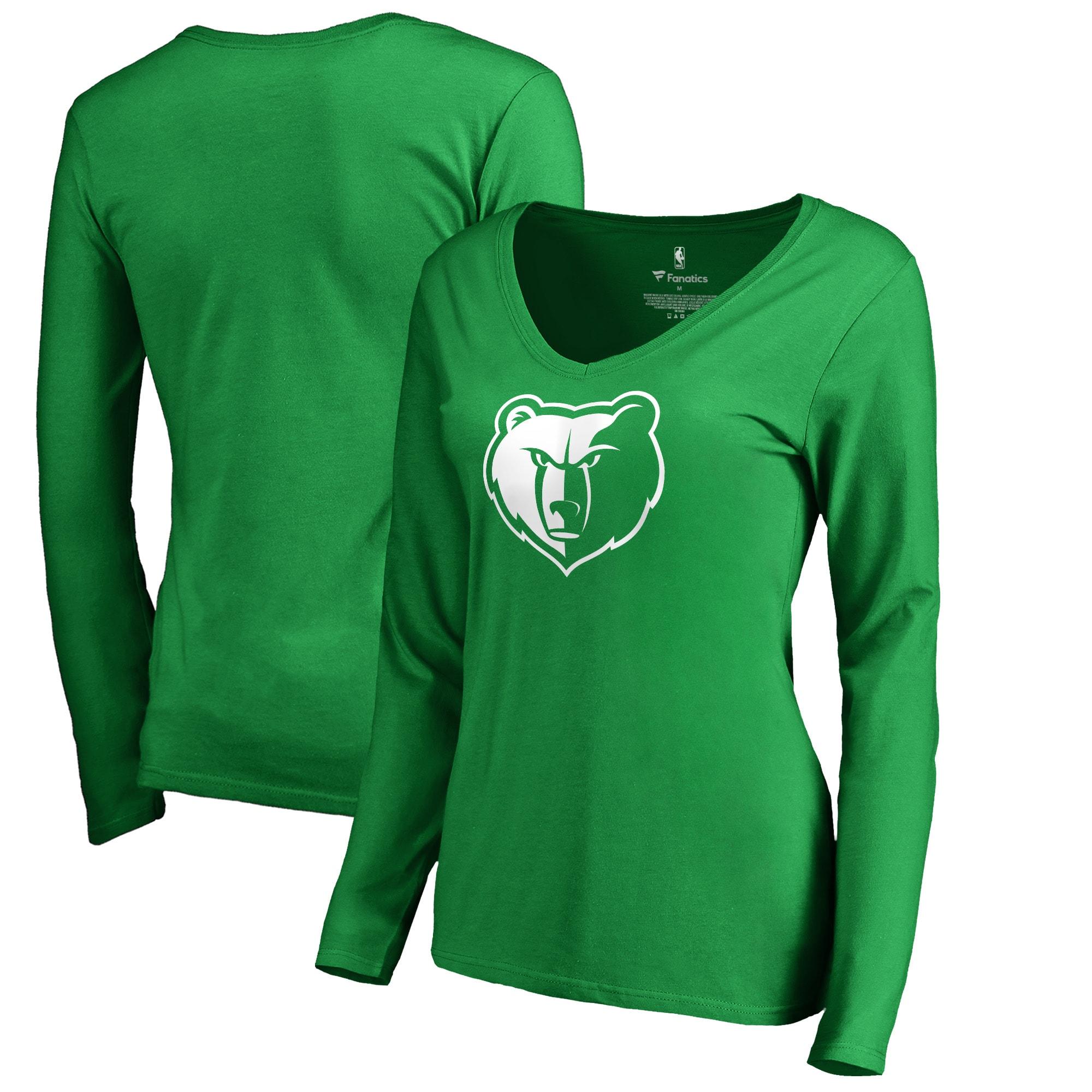Memphis Grizzlies Fanatics Branded Women's St. Patrick's Day White Logo Long Sleeve V-Neck T-Shirt - Green