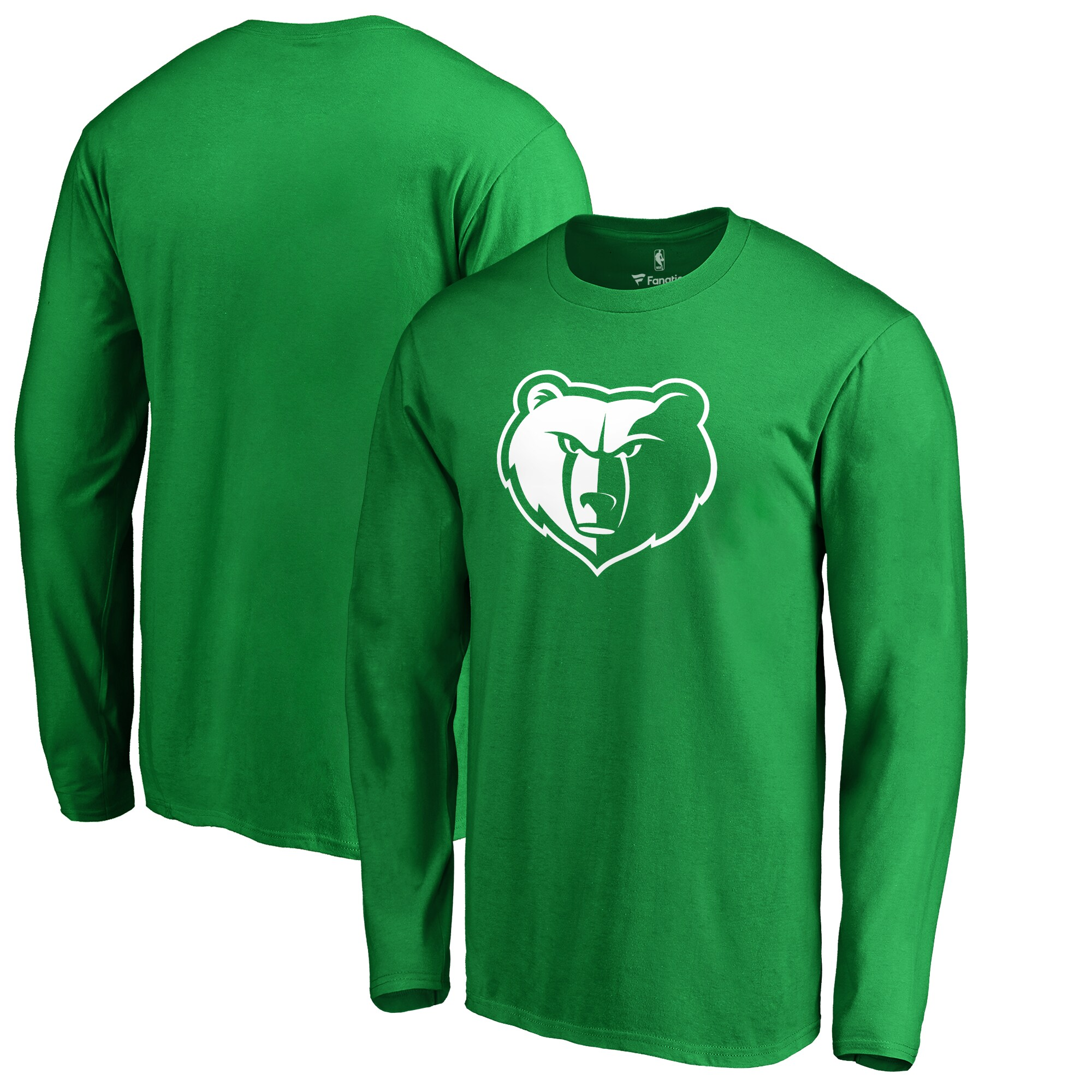 Memphis Grizzlies Fanatics Branded St. Patrick's Day White Logo Long Sleeve T-Shirt - Green