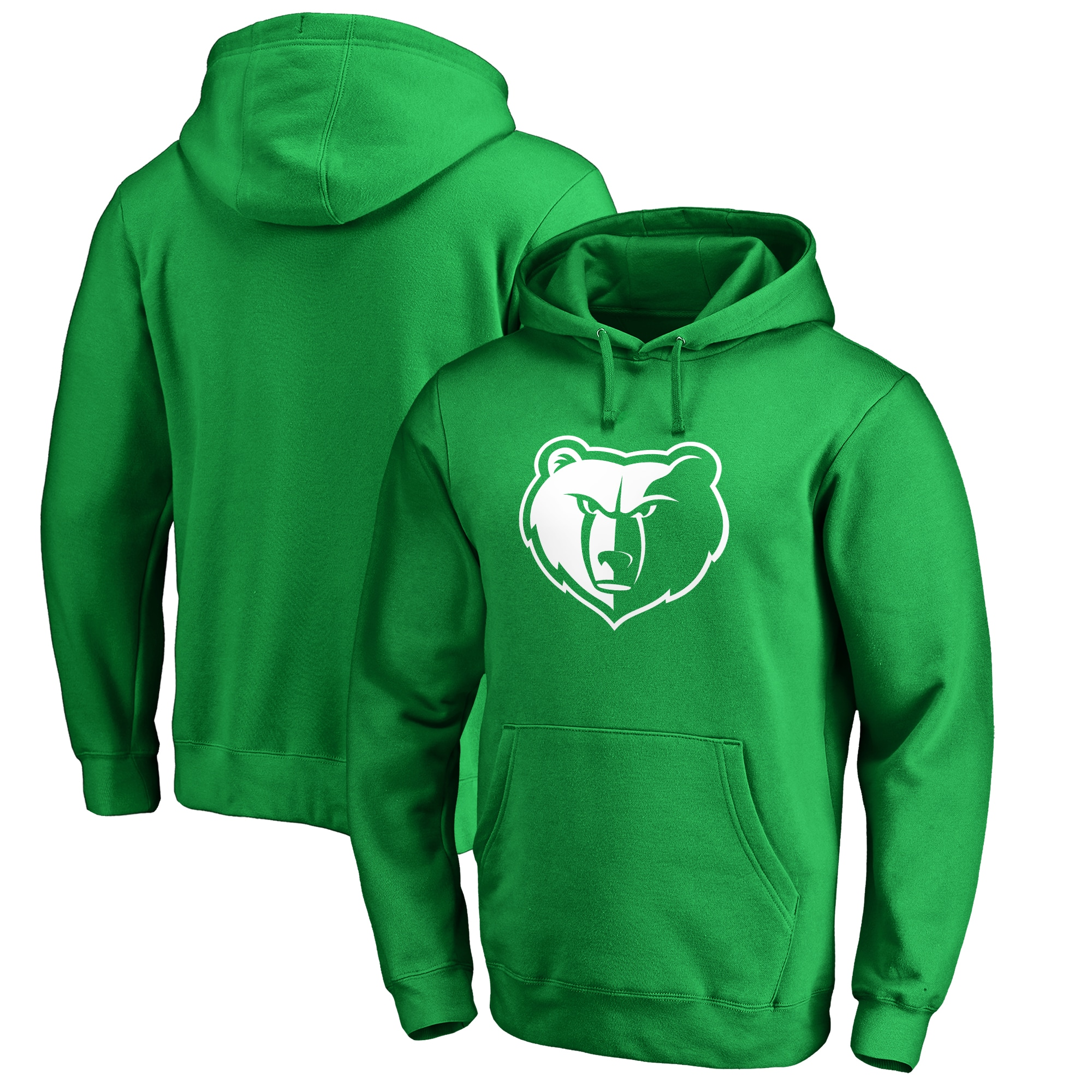 Memphis Grizzlies Fanatics Branded St. Patrick's Day White Logo Pullover Hoodie - Green