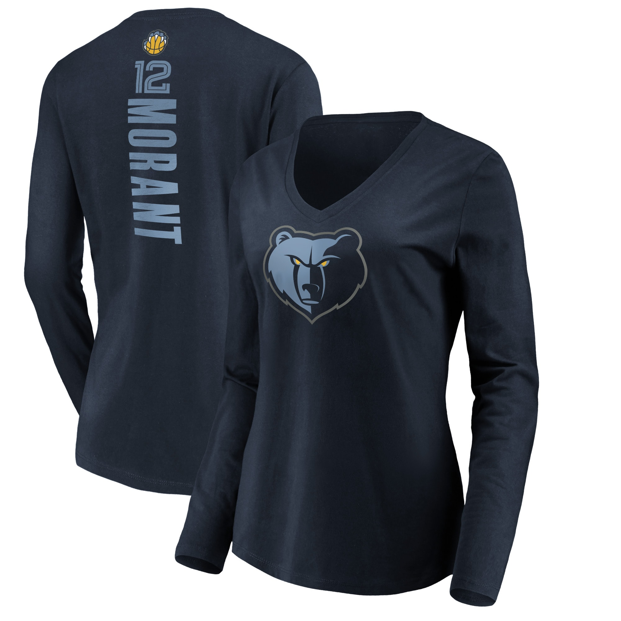 Ja Morant Memphis Grizzlies Fanatics Branded Women's Playmaker Name & Number Long Sleeve V-Neck T-Shirt - Navy