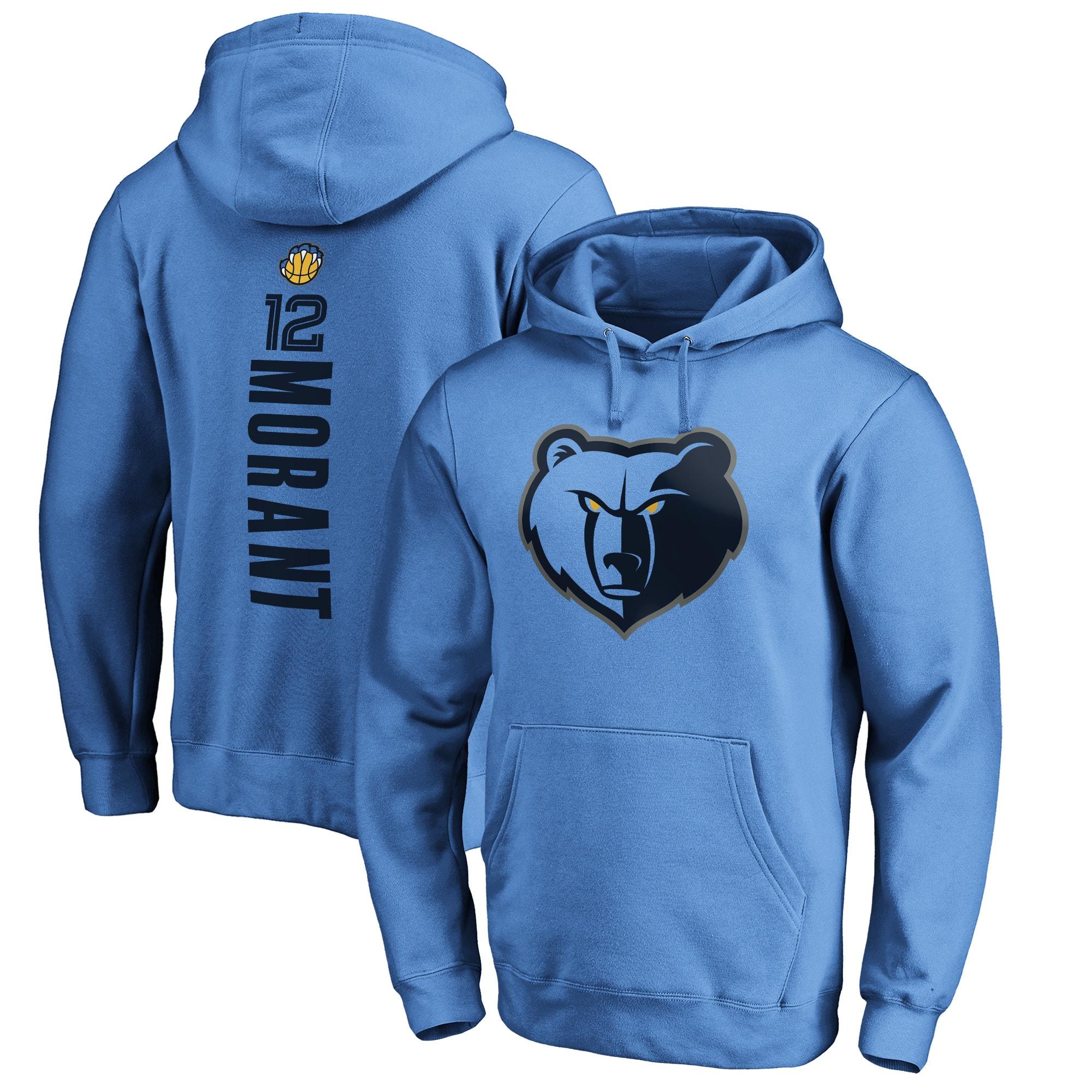Ja Morant Memphis Grizzlies Fanatics Branded Playmaker Name & Number Pullover Hoodie - Light Blue
