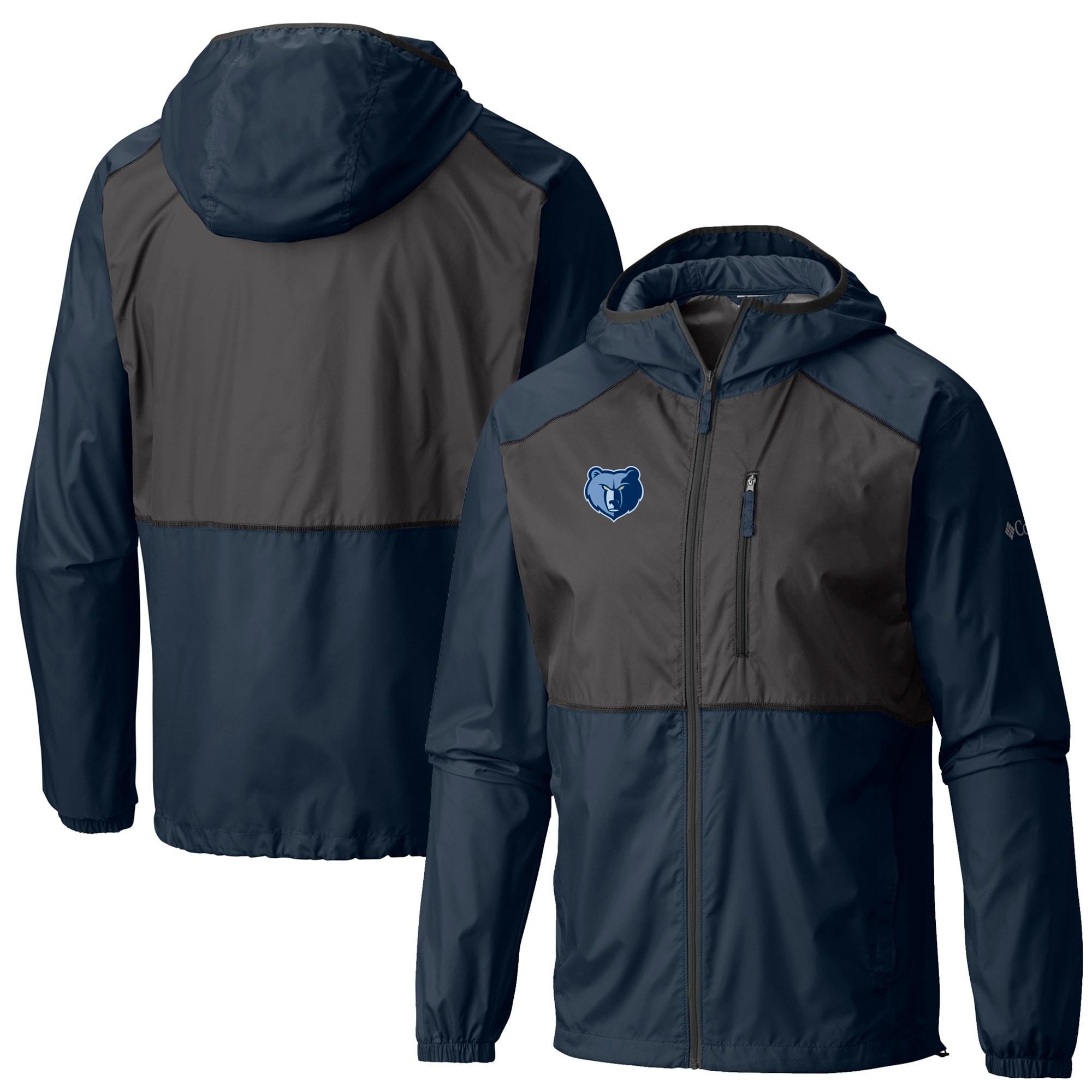 Memphis Grizzlies Columbia Flash Forward Full-Zip Windbreaker Jacket - Navy