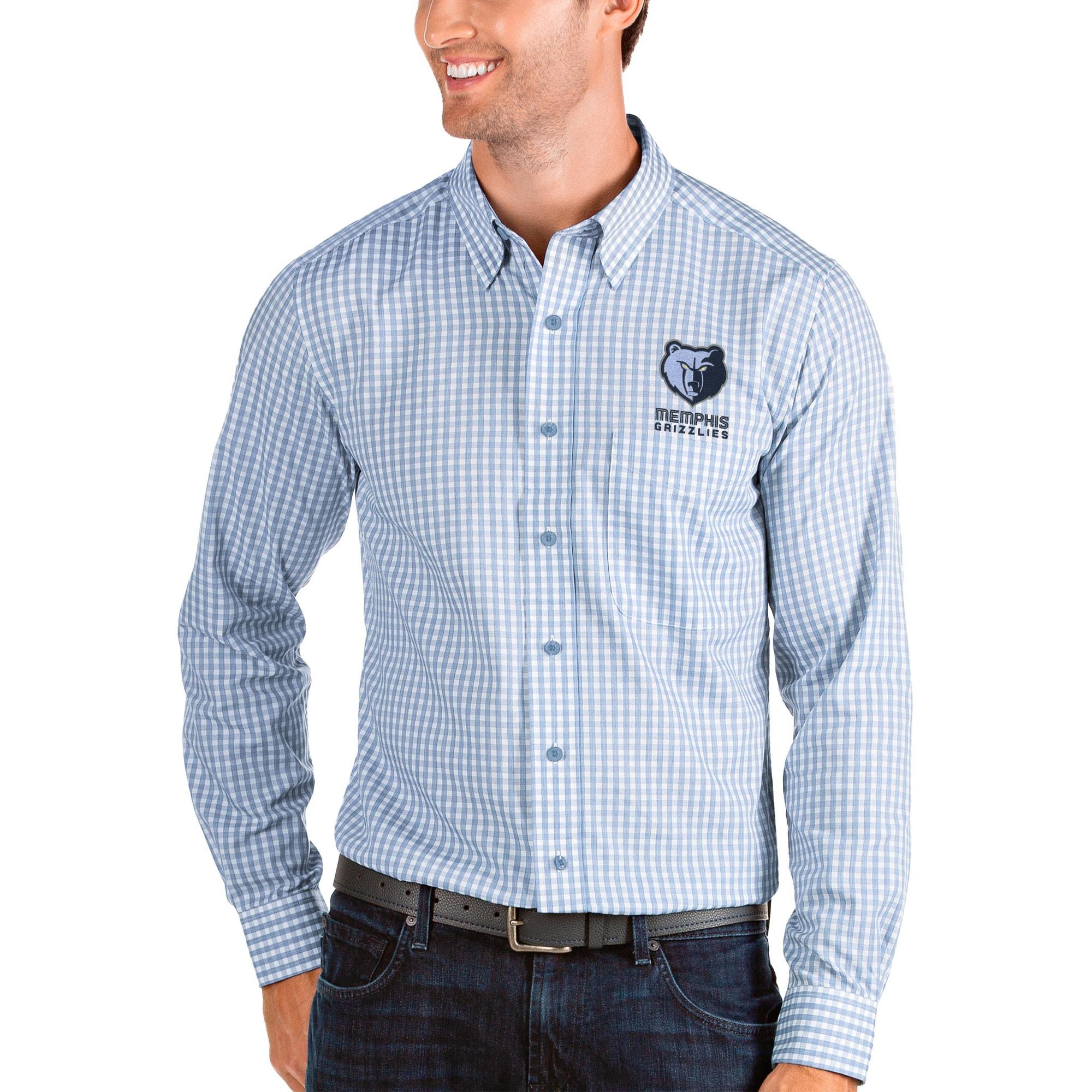 Memphis Grizzlies Antigua Structure Long Sleeve Button-Up Shirt - Blue/White