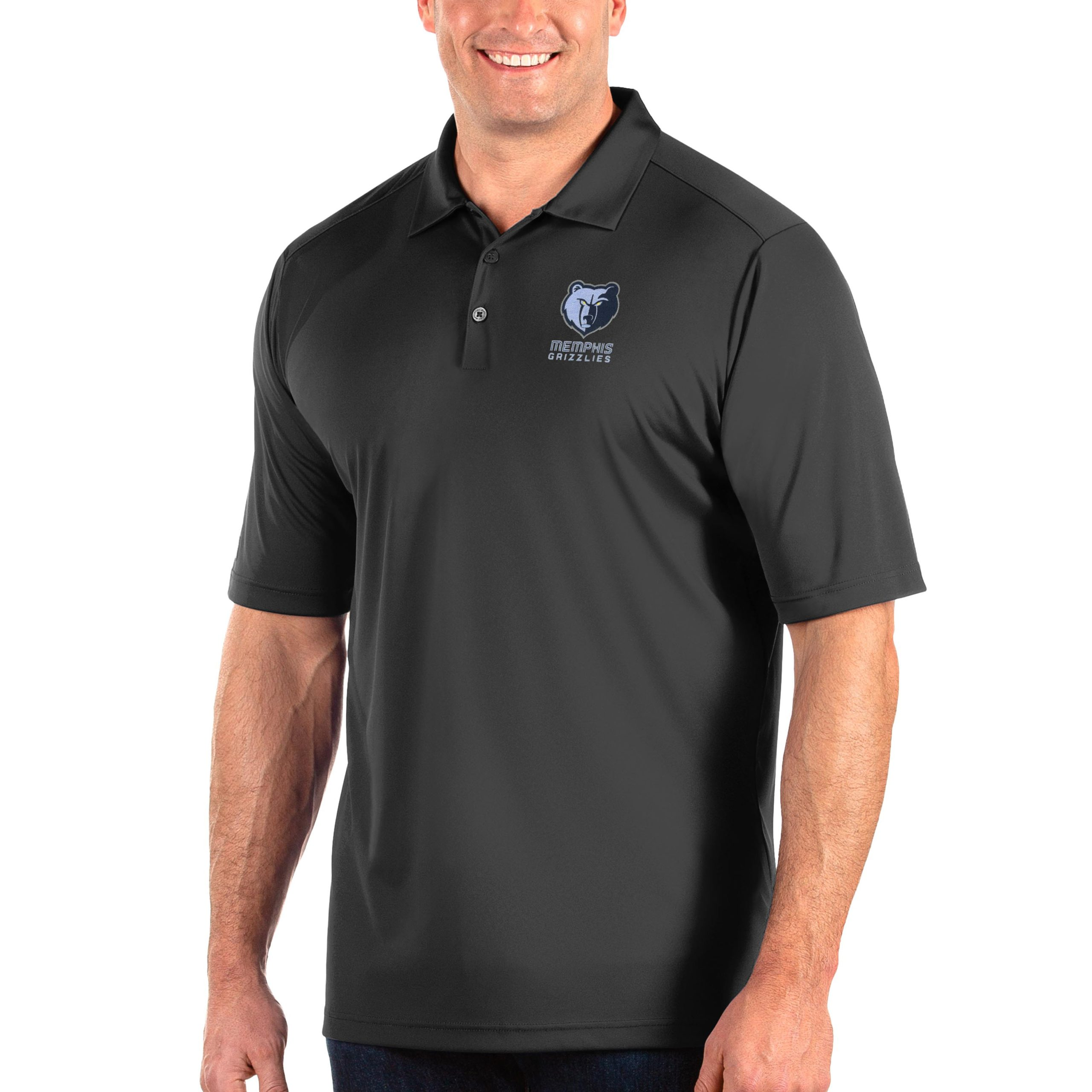 Memphis Grizzlies Antigua Big & Tall Tribute Polo - Charcoal