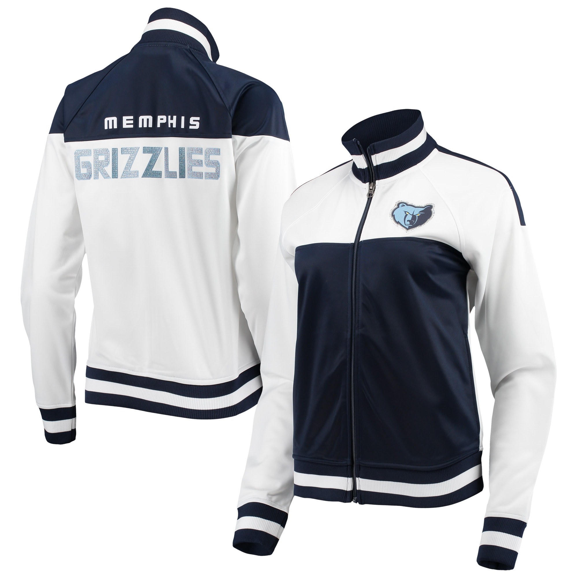 Memphis Grizzlies G-III 4Her by Carl Banks Women's Tip Off Rhinestone Tricot Full-Zip Track Jacket - White/Navy