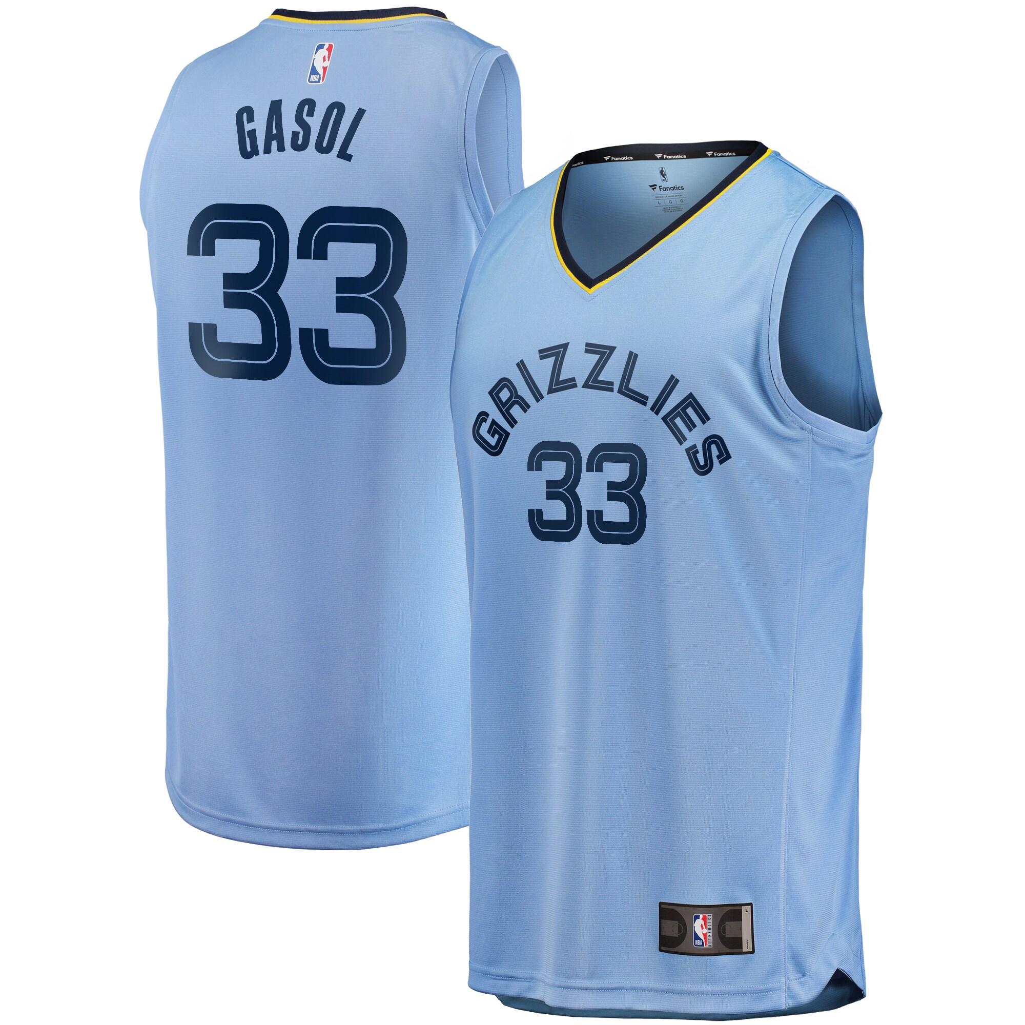 Marc Gasol Memphis Grizzlies Fanatics Branded Youth Draft Fast Break Replica Jersey - Light Blue