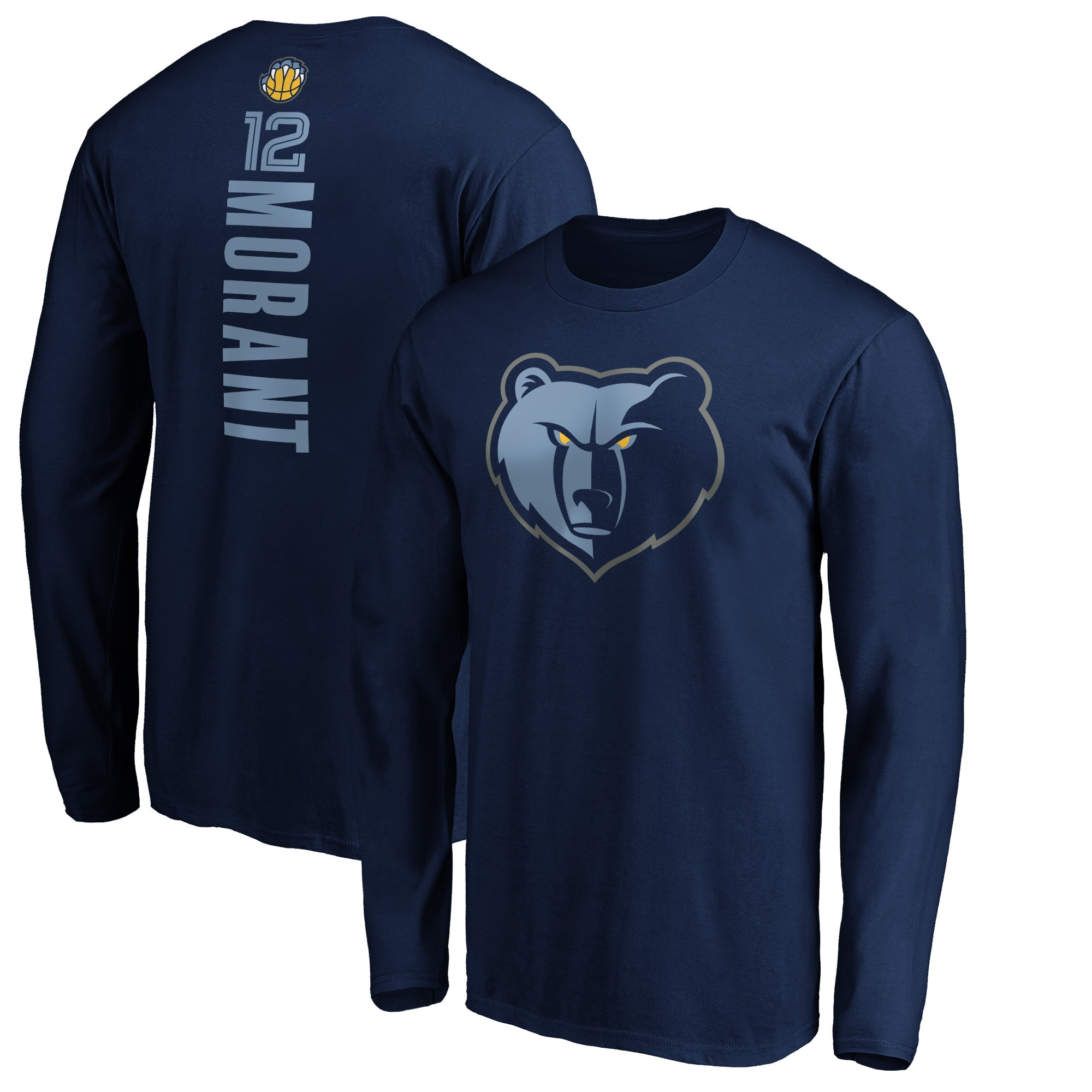 Ja Morant Memphis Grizzlies Fanatics Branded Big & Tall Playmaker Name & Number Long Sleeve T-Shirt - Navy