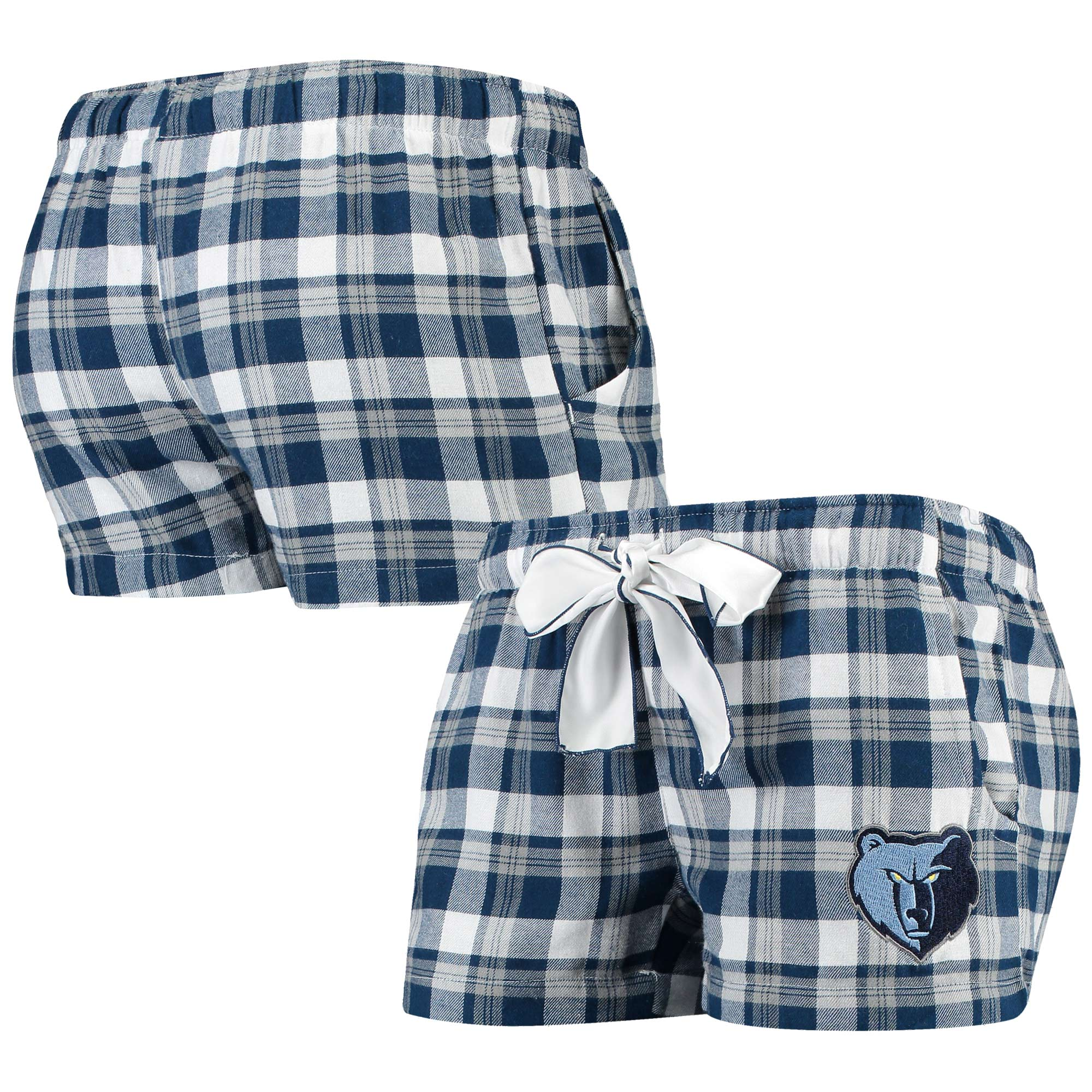 Memphis Grizzlies Concepts Sport Women's Piedmont Flannel Sleep Shorts - Navy/Gray