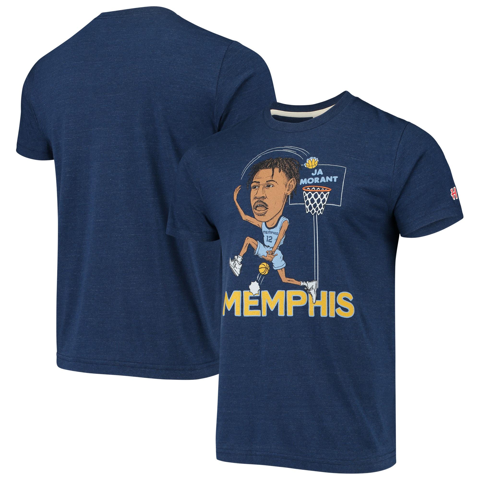 Ja Morant Memphis Grizzlies Caricature Tri-Blend T-Shirt - Navy