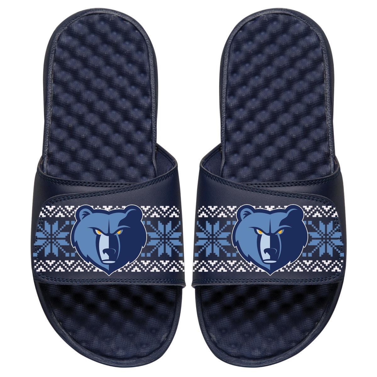 Memphis Grizzlies ISlide Ugly Sweater Slide Sandals - Navy