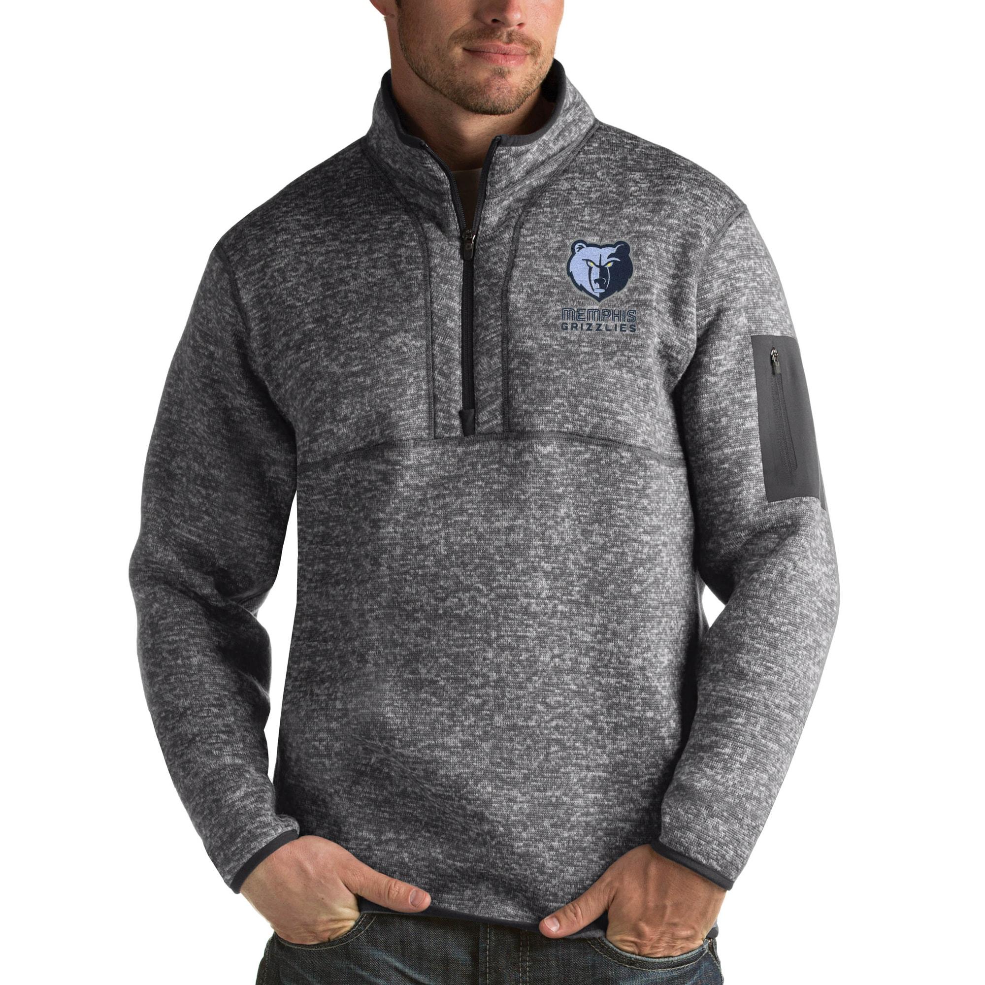 Memphis Grizzlies Antigua Fortune Big & Tall Quarter-Zip Pullover Jacket - Charcoal