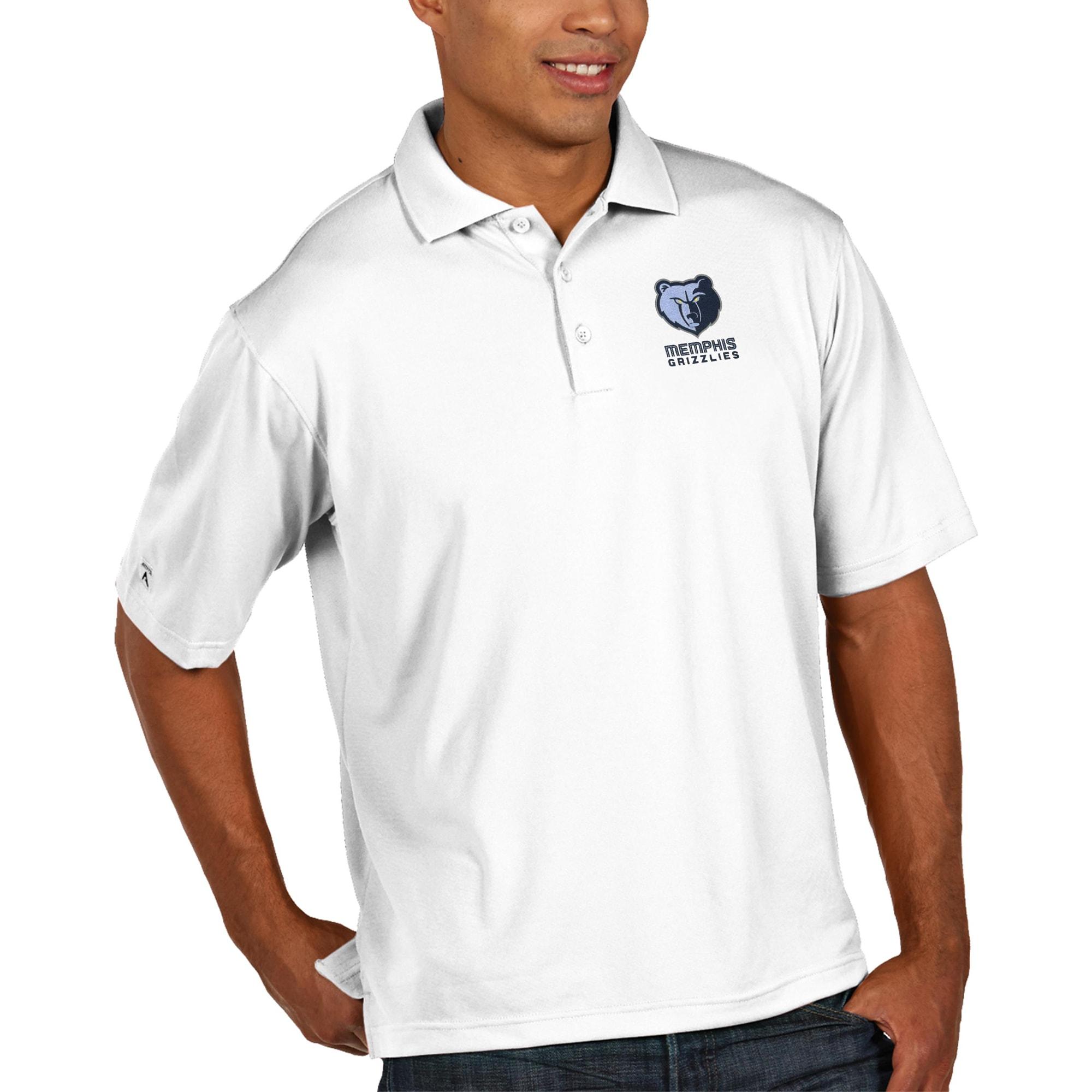 Memphis Grizzlies Antigua Pique Xtra Lite Big & Tall Polo - White