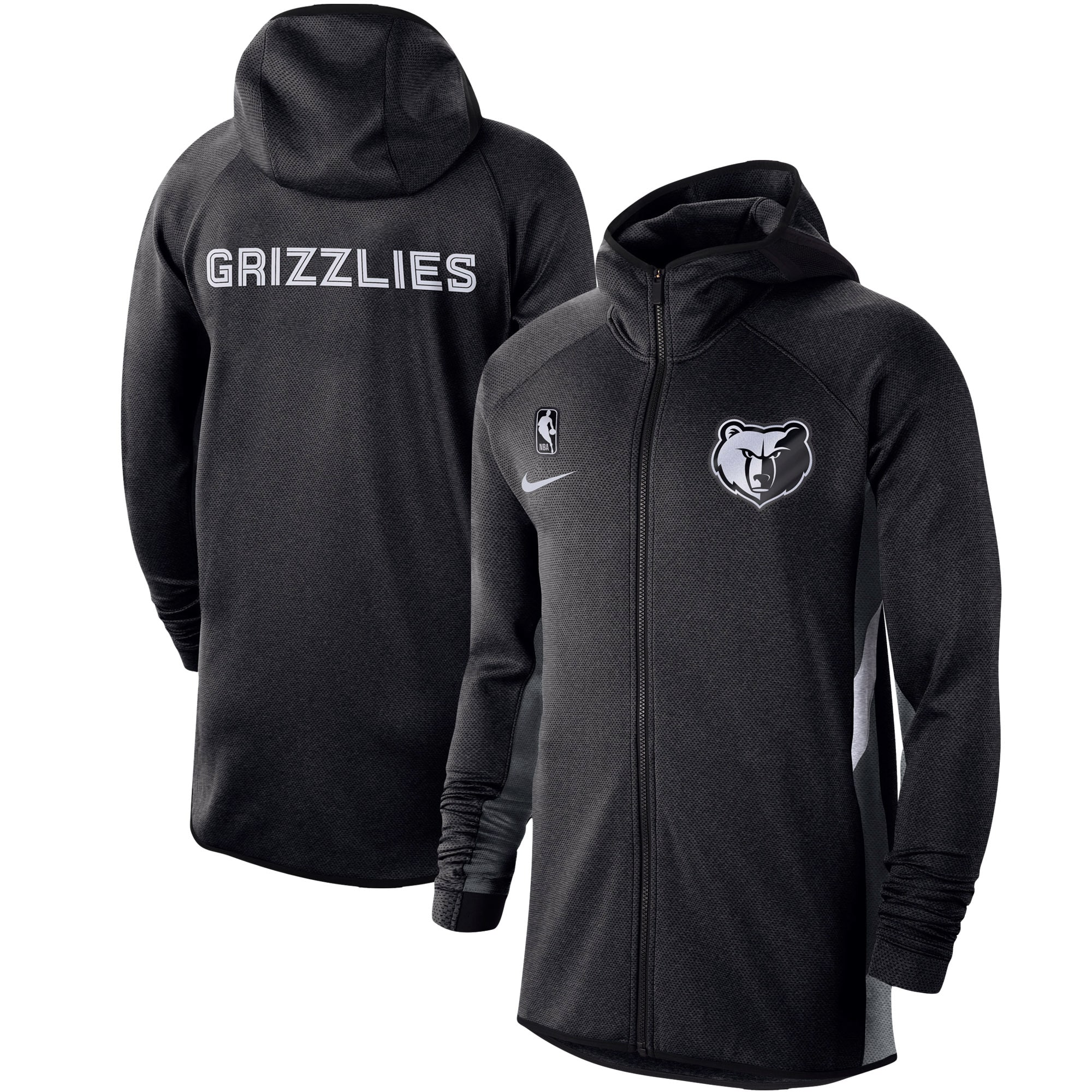 Memphis Grizzlies Nike Authentic Showtime Therma Flex Performance Full-Zip Hoodie - Heathered Black