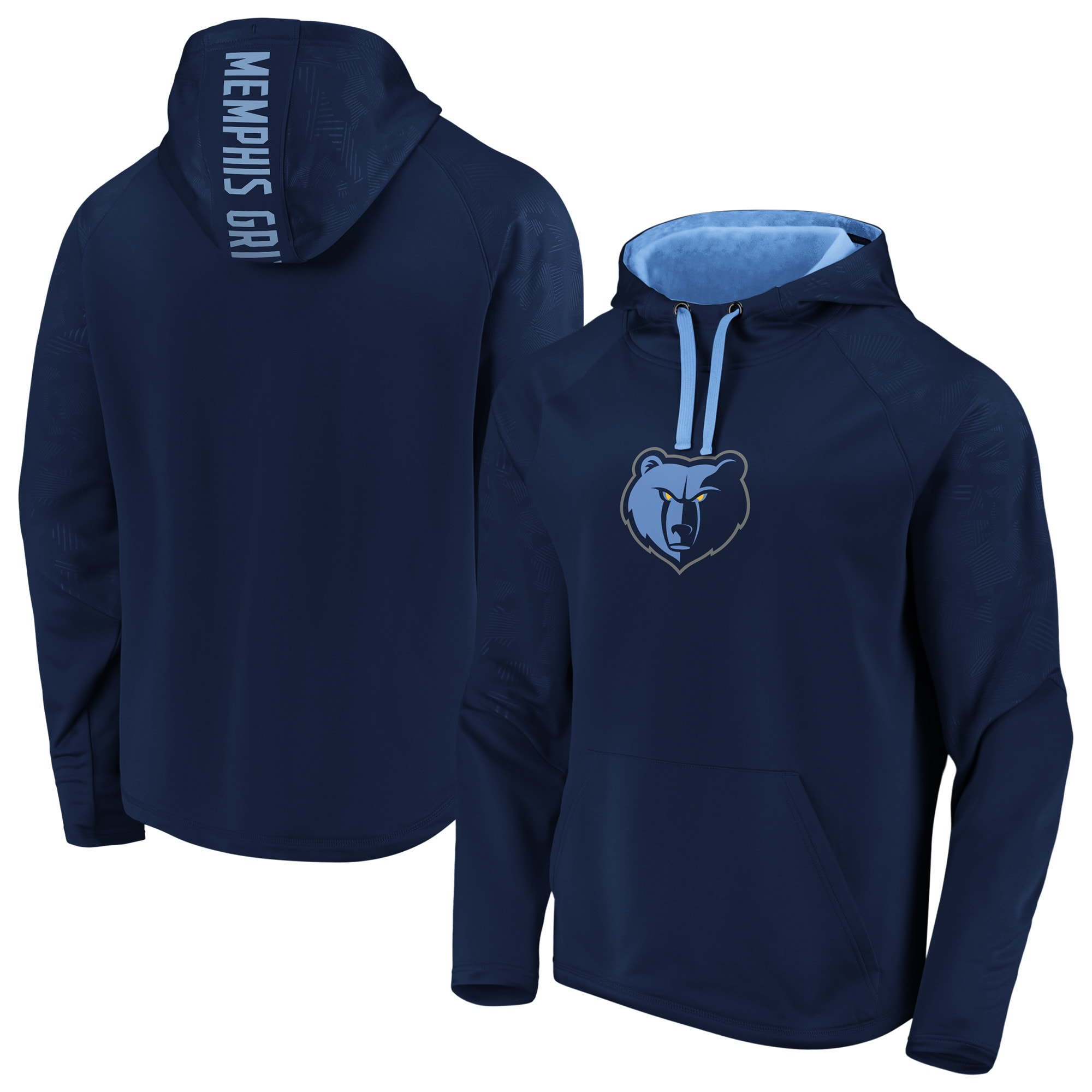 Memphis Grizzlies Fanatics Branded Iconic Defender Performance Primary Logo Pullover Hoodie - Navy/Light Blue