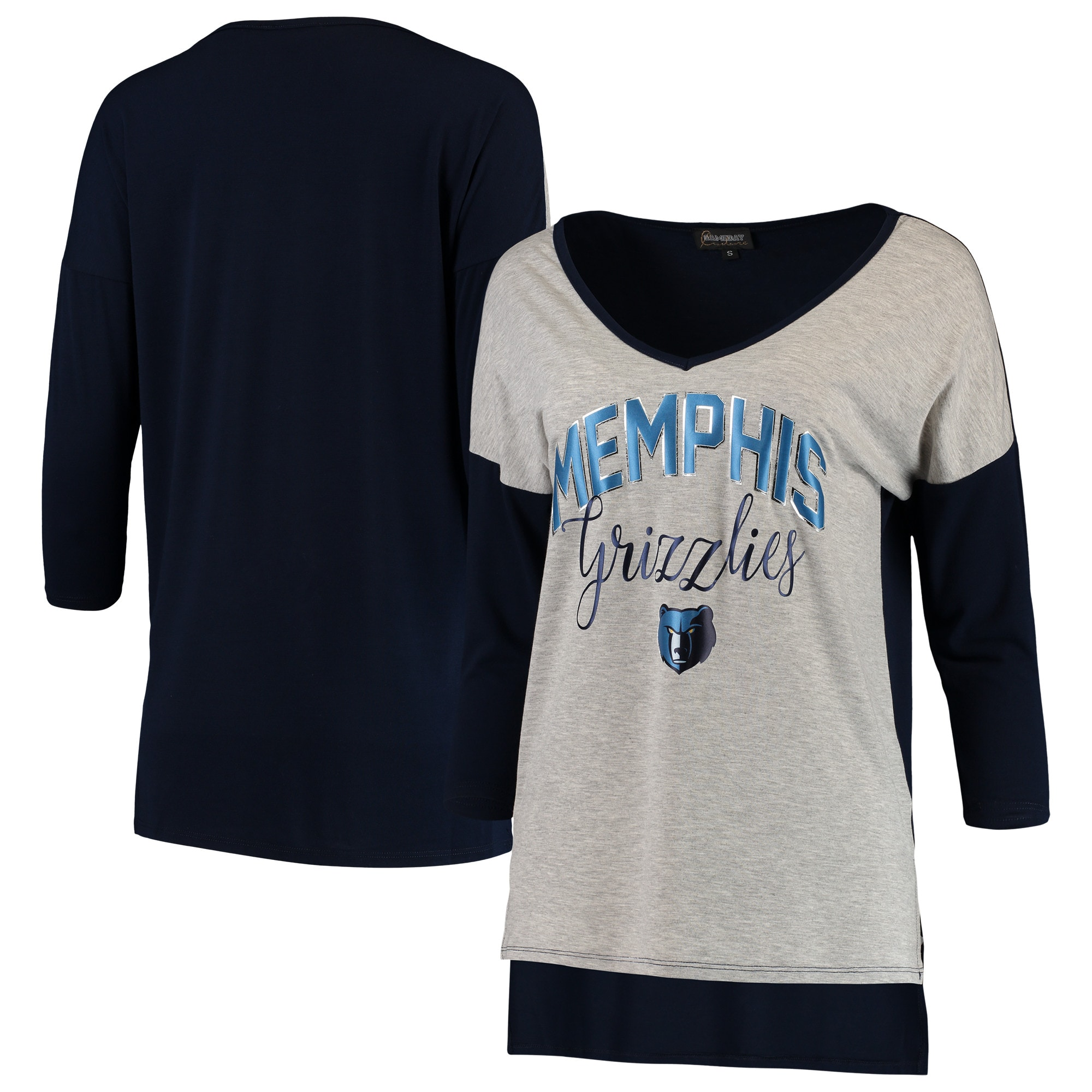 Memphis Grizzlies Women's Meet Your Match Colorblock 3/4-Sleeve Tri-Blend V-Neck T-Shirt - Heathered Gray