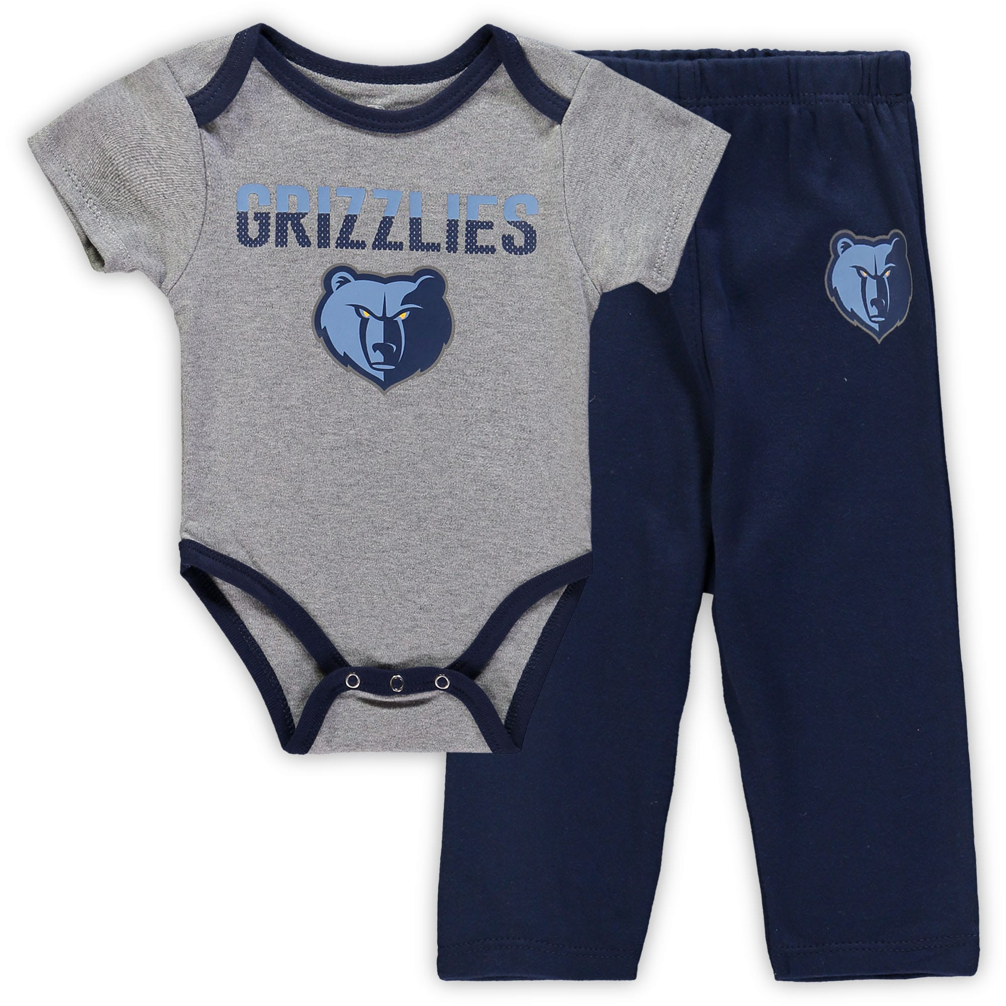 Memphis Grizzlies Newborn & Infant Pointguard Bodysuit and Pants Set - Heathered Gray/Navy