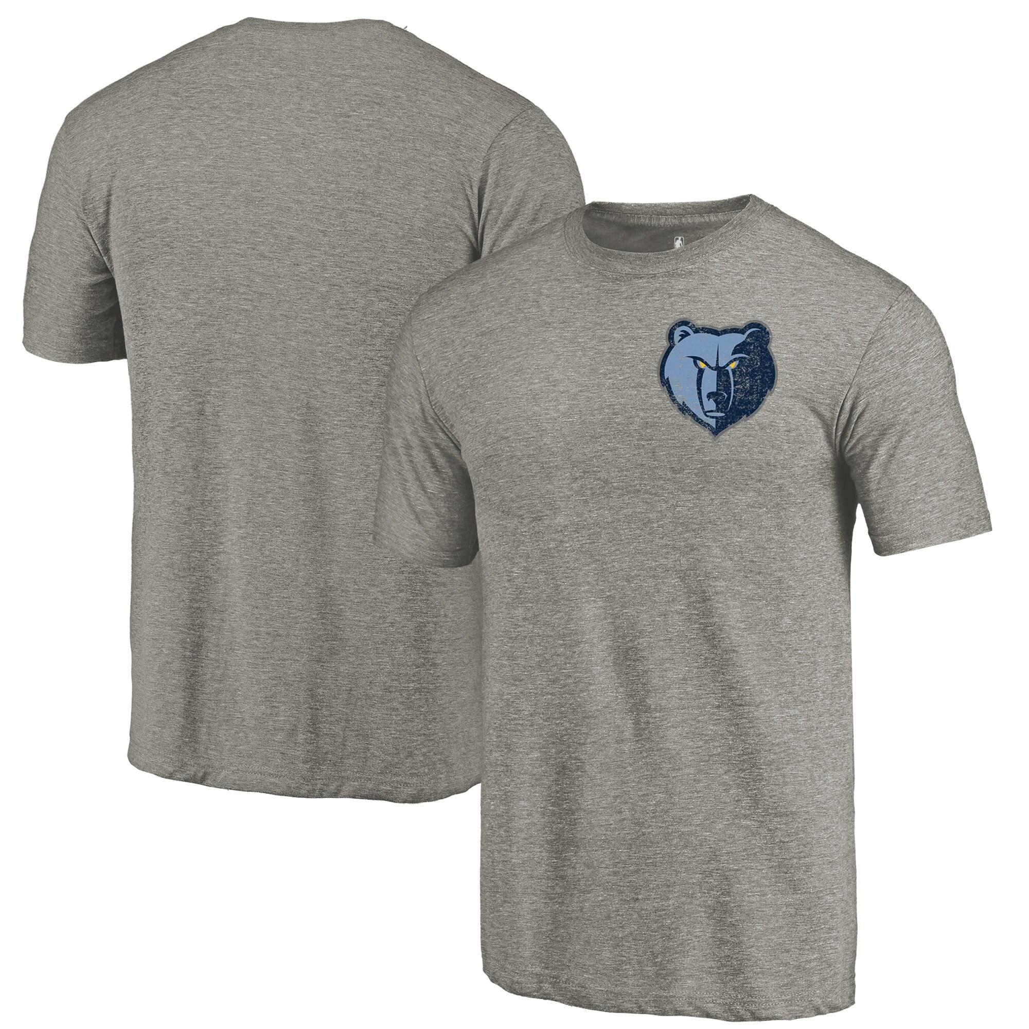 Memphis Grizzlies Fanatics Branded Primary Logo Left Chest Distressed Tri-Blend T-Shirt - Gray