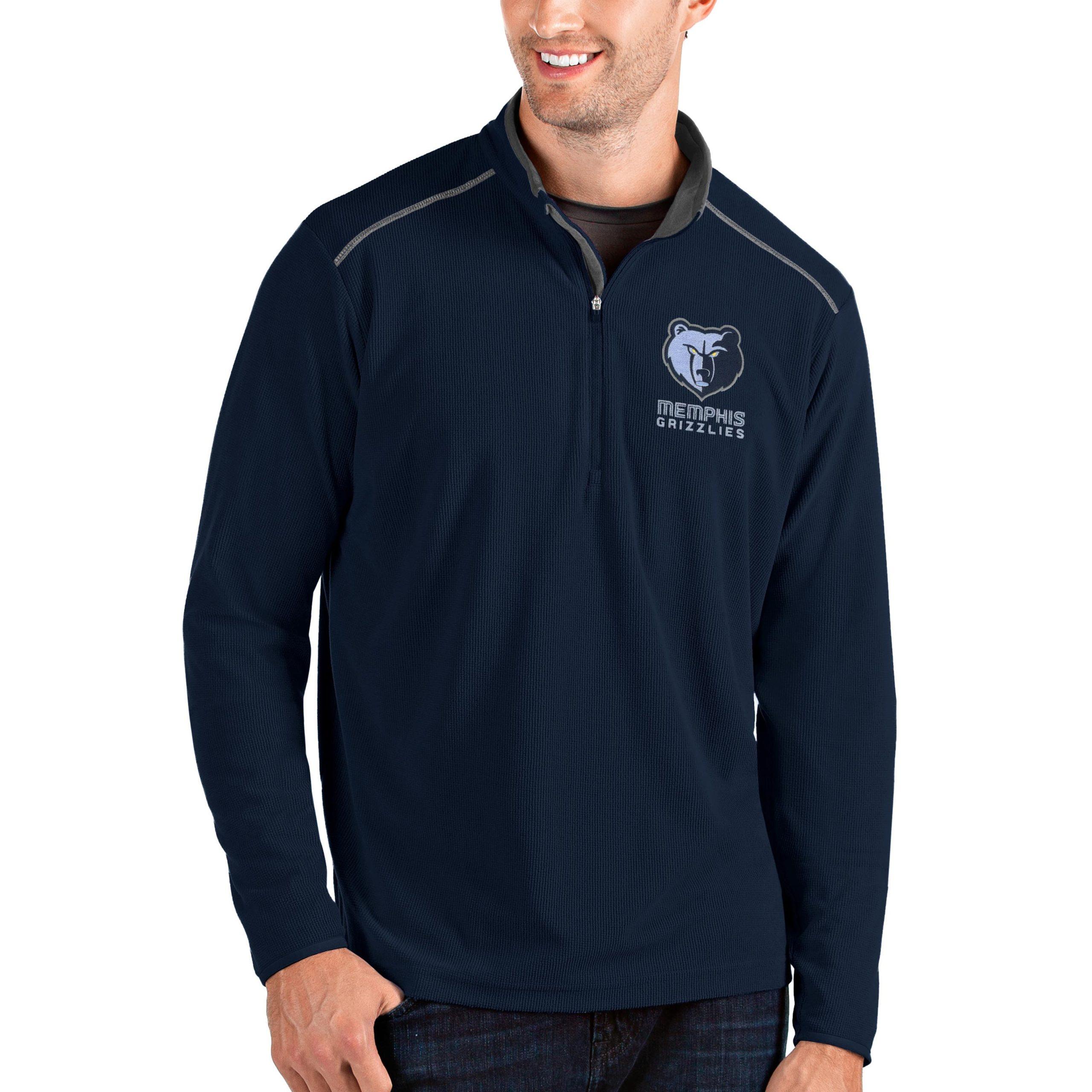 Memphis Grizzlies Antigua Big & Tall Glacier Quarter-Zip Pullover Jacket - Navy/Gray