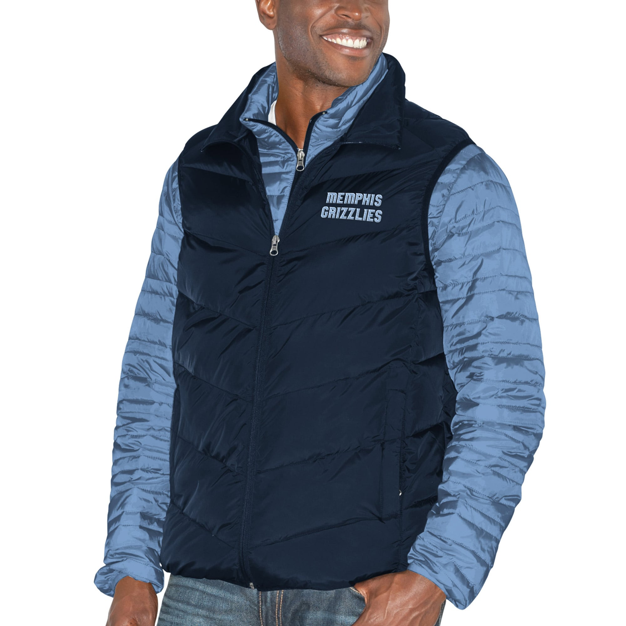 Memphis Grizzlies G-III Sports by Carl Banks Three & Out 3-in-1 System Full-Zip Vest & Jacket Set - Navy/Light Blue