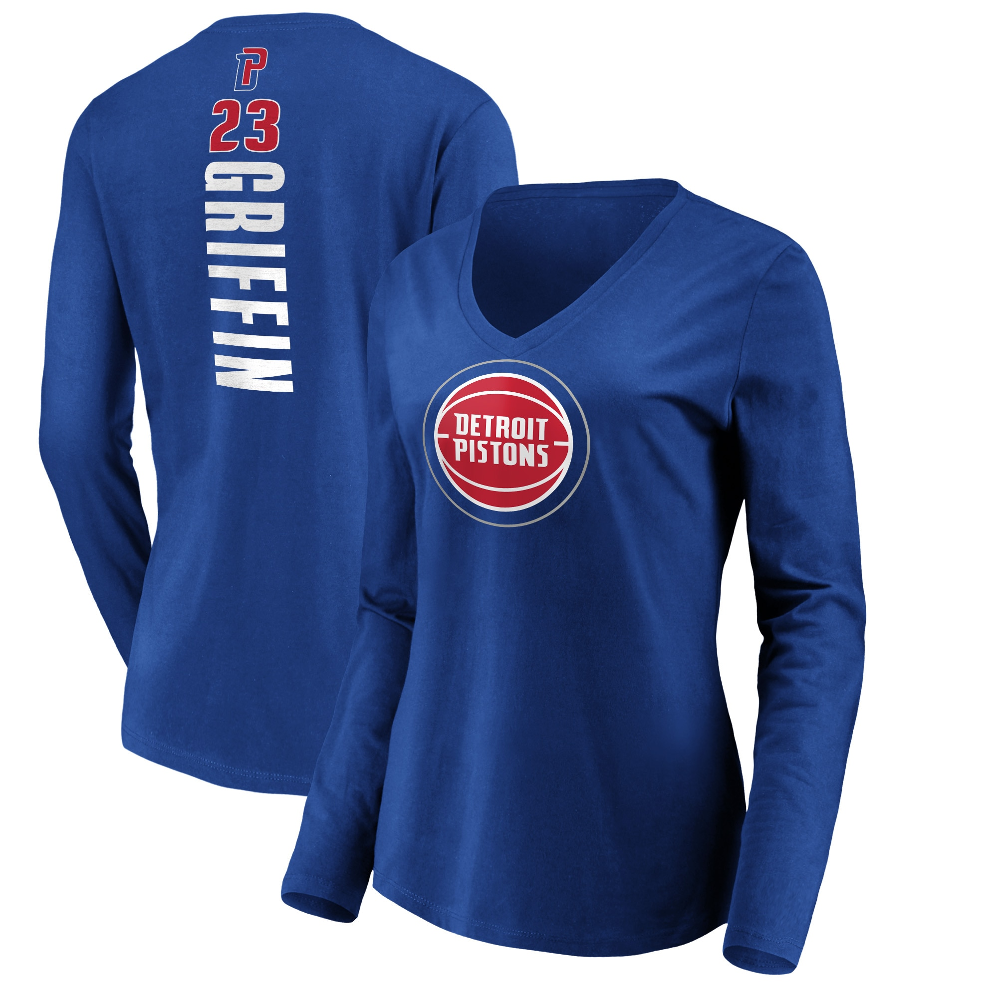 Blake Griffin Detroit Pistons Fanatics Branded Women's Playmaker Name & Number V-Neck Long Sleeve T-Shirt - Royal