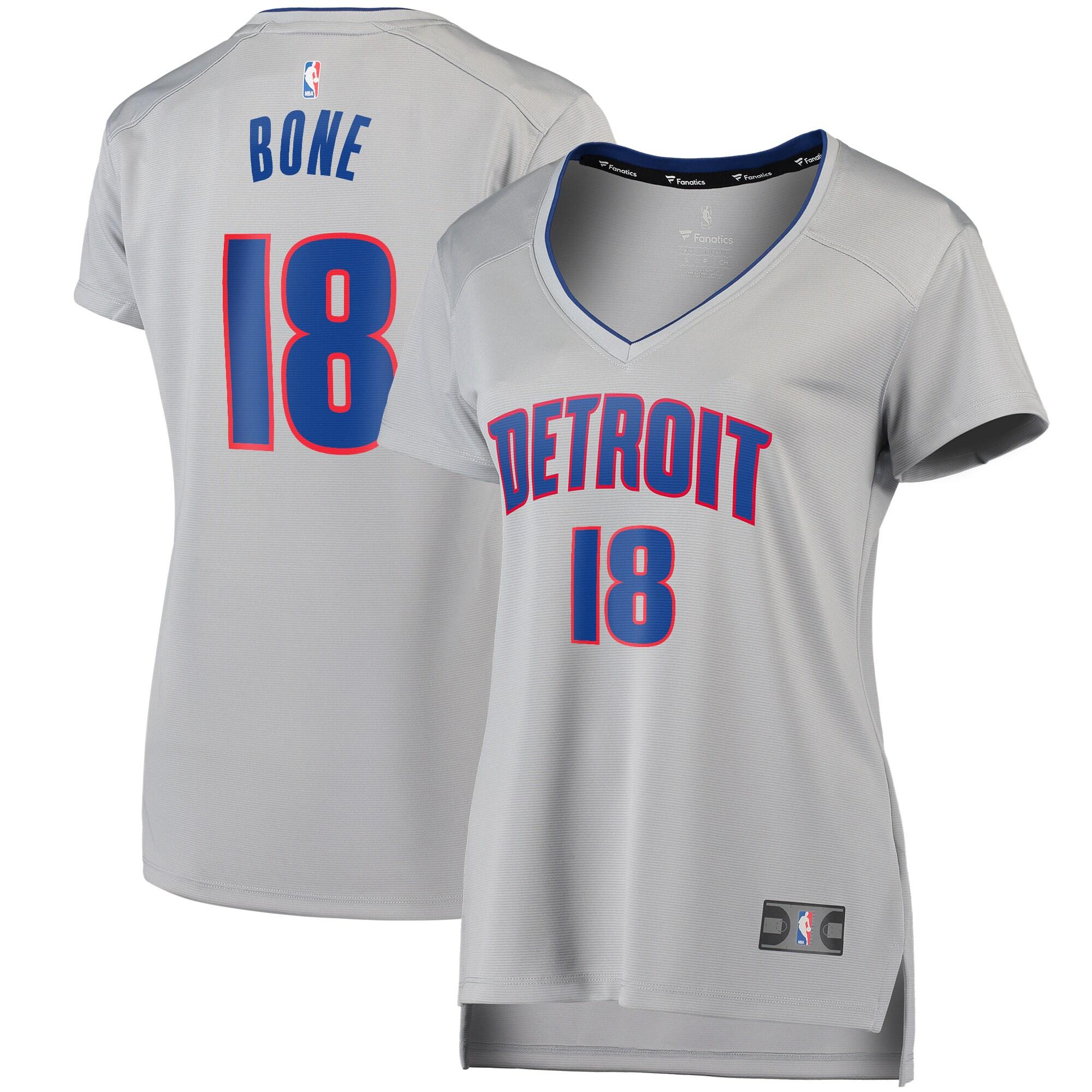 Jordan Bone Detroit Pistons Fanatics Branded Women's Fast Break Replica Player Jersey - Statement Edition - Gray