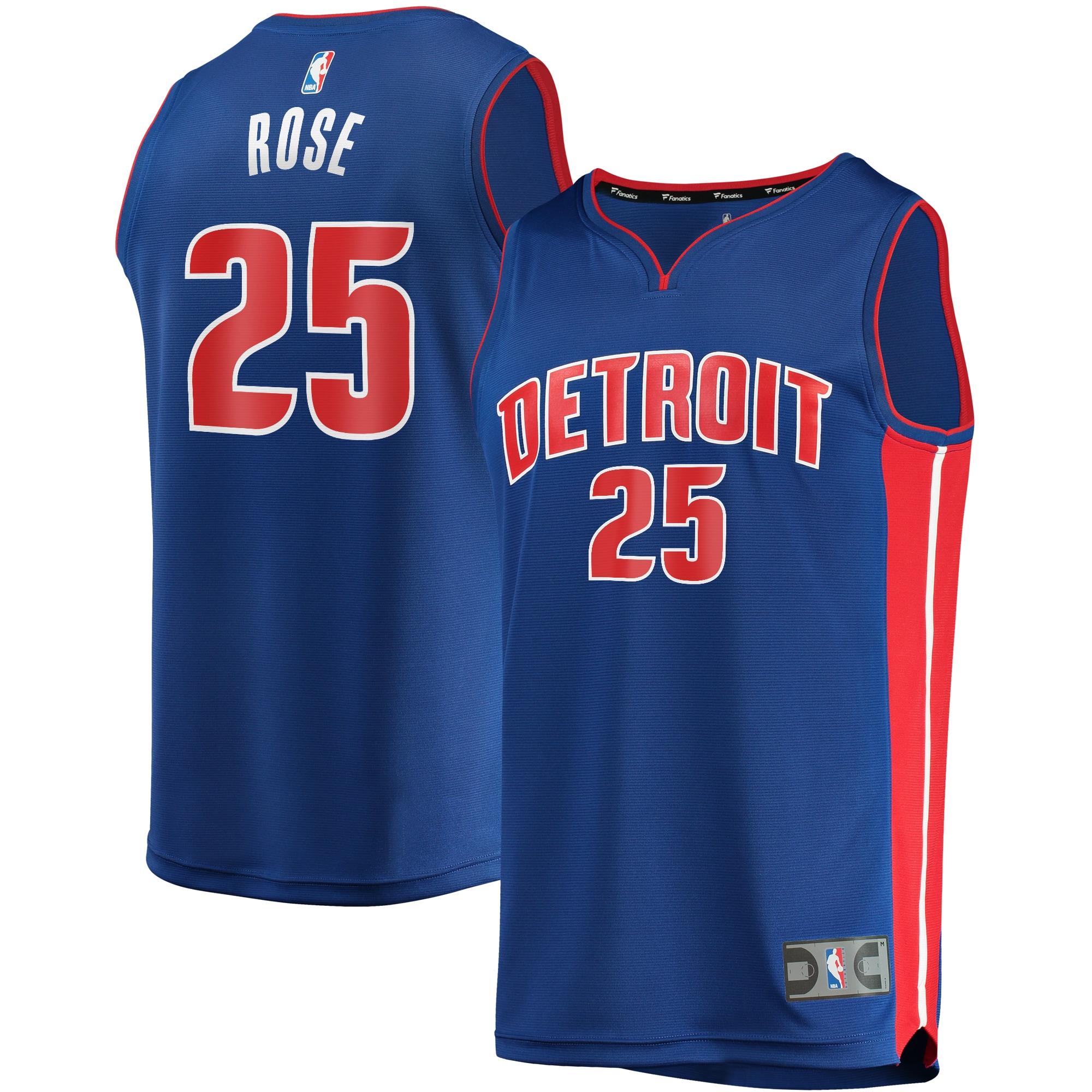 Derrick Rose Detroit Pistons Fanatics Branded Fast Break Replica Player Team Jersey - Icon Edition - Blue