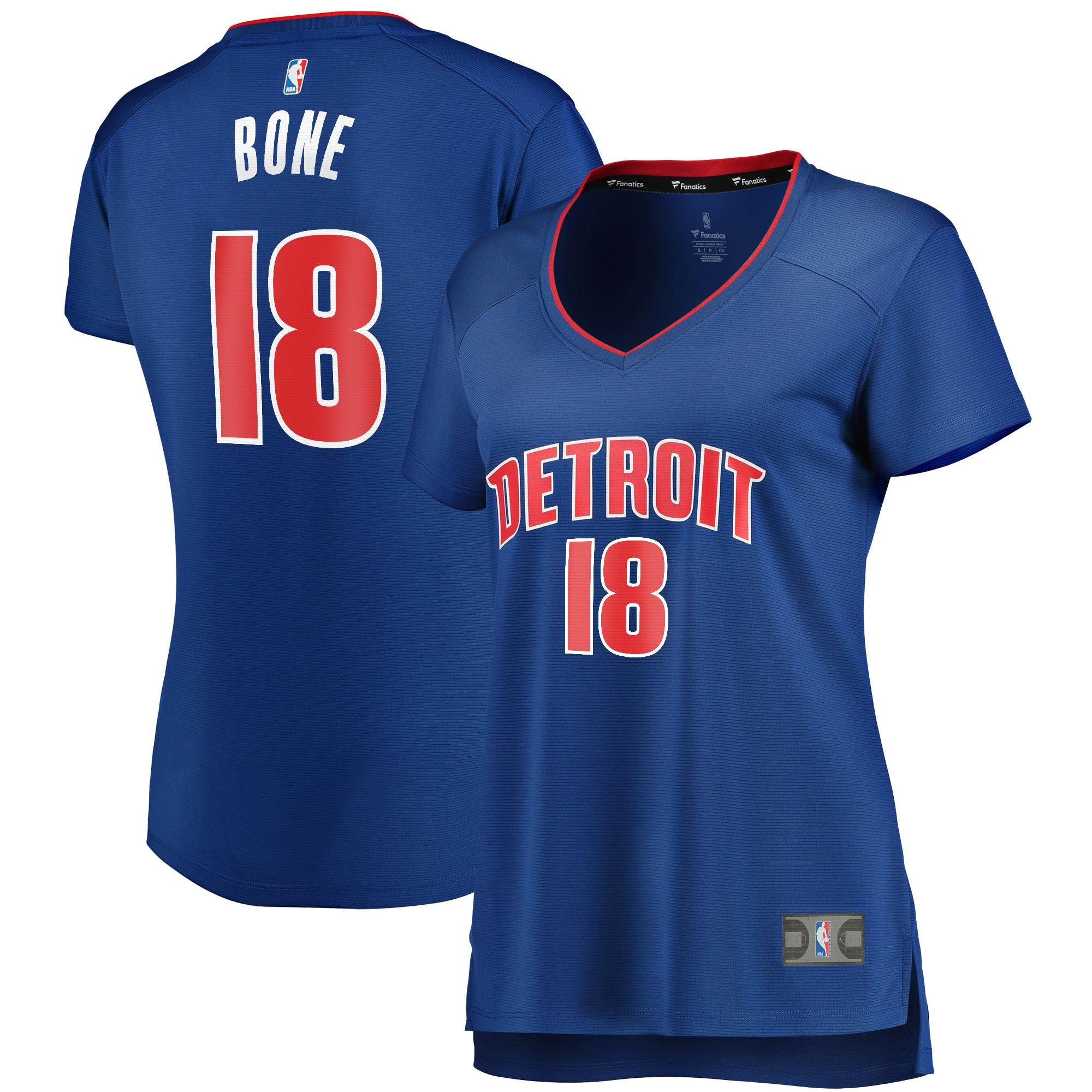 Jordan Bone Detroit Pistons Fanatics Branded Women's Fast Break Replica Player Jersey - Icon Edition - Blue