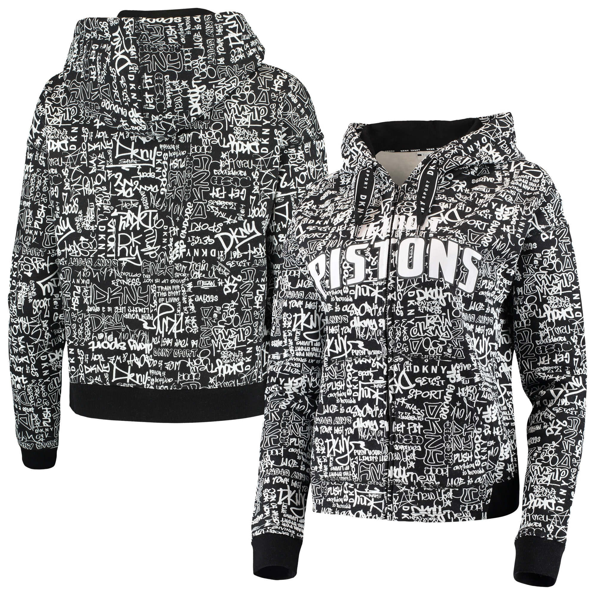 Detroit Pistons DKNY Sport Women's Urban Full-Zip Hoodie - Black
