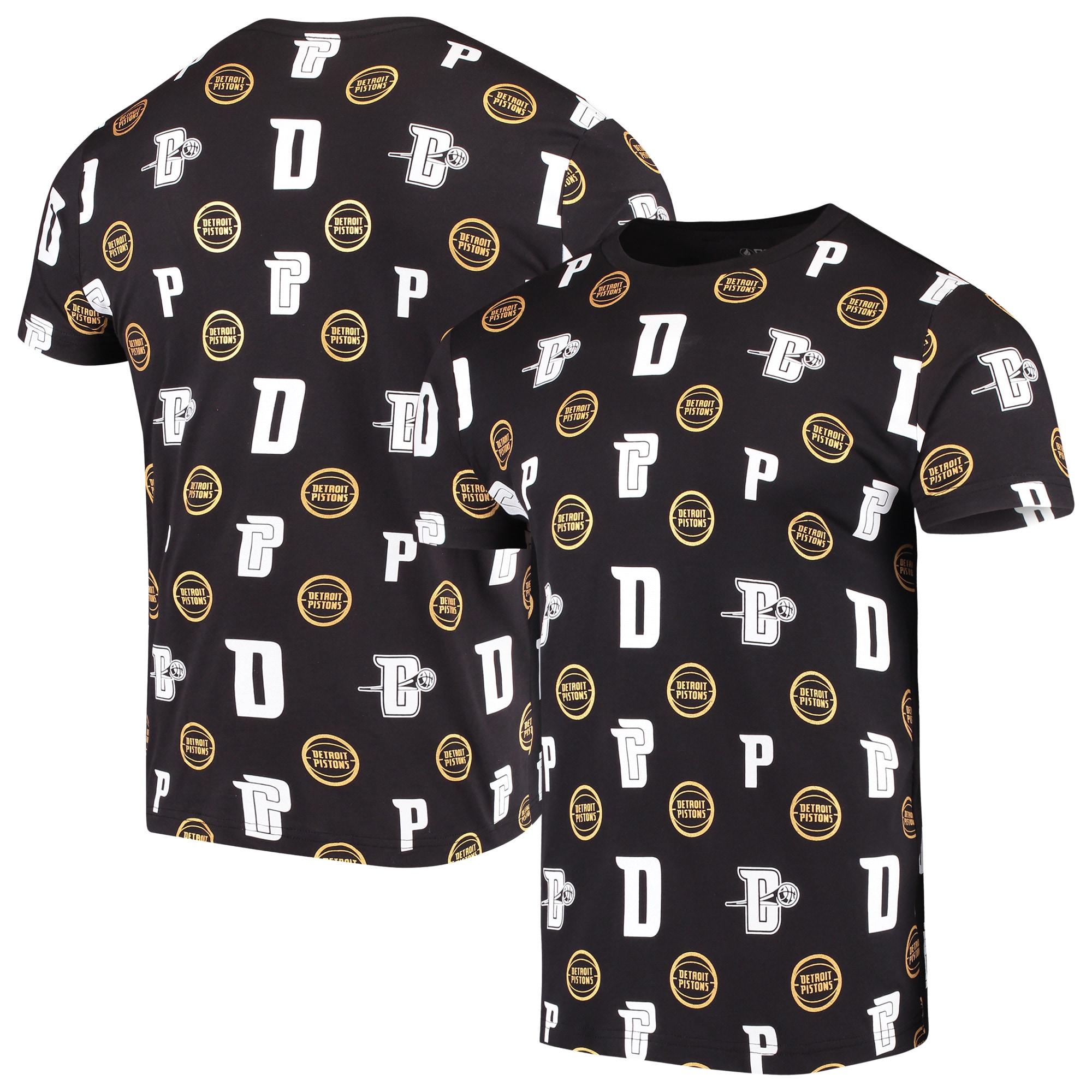 Detroit Pistons Allover Print T-Shirt - Black