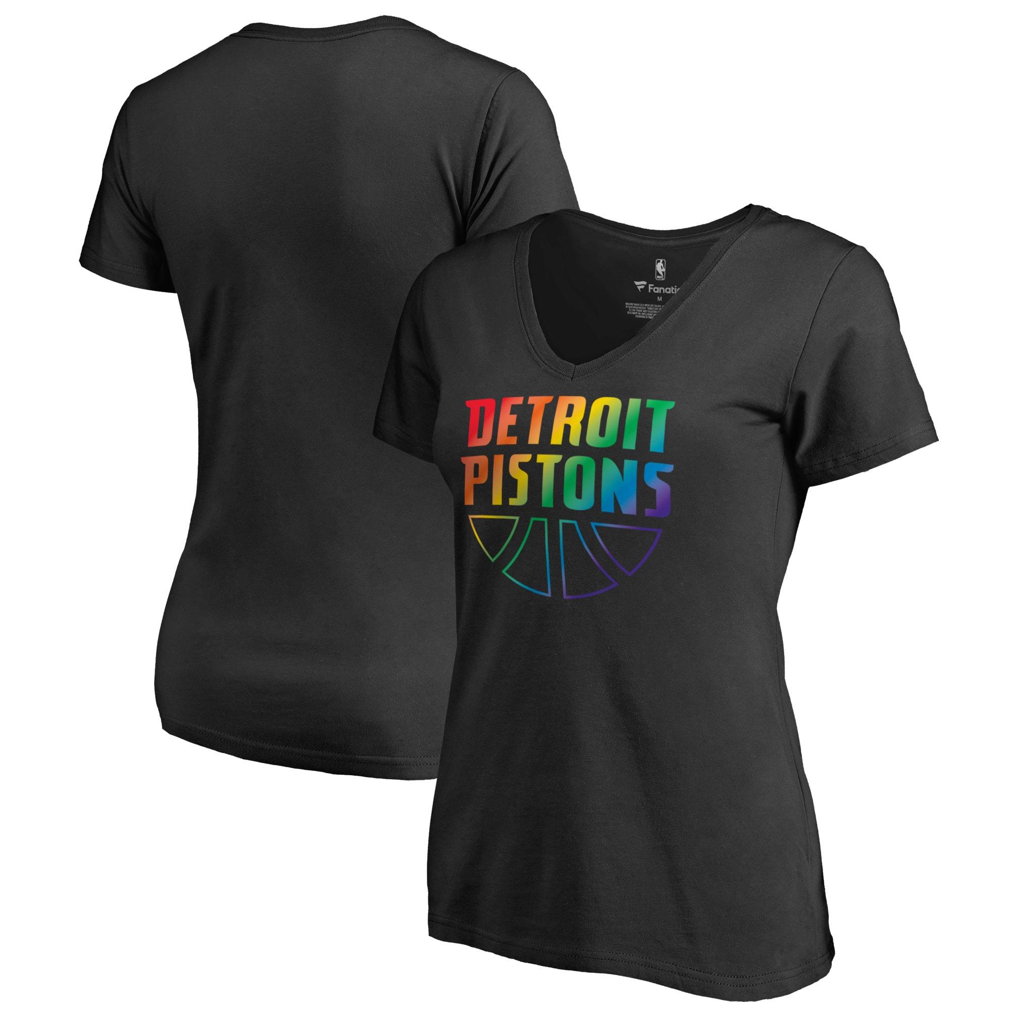 Detroit Pistons Fanatics Branded Women's Team Pride Wordmark V-Neck T-Shirt - Black